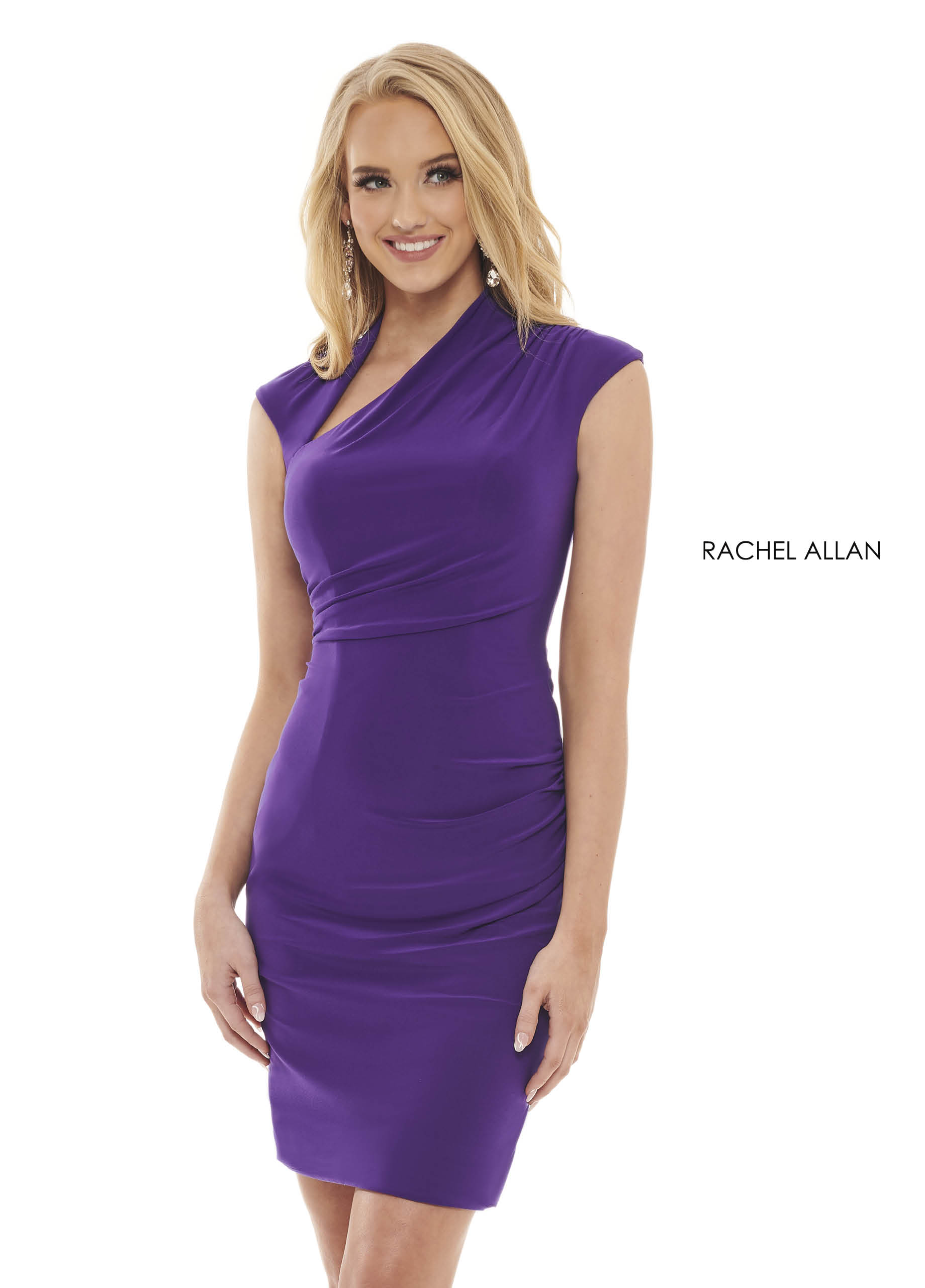 Asymmetric Fitted Mini Pageant Dresses in Purple Color