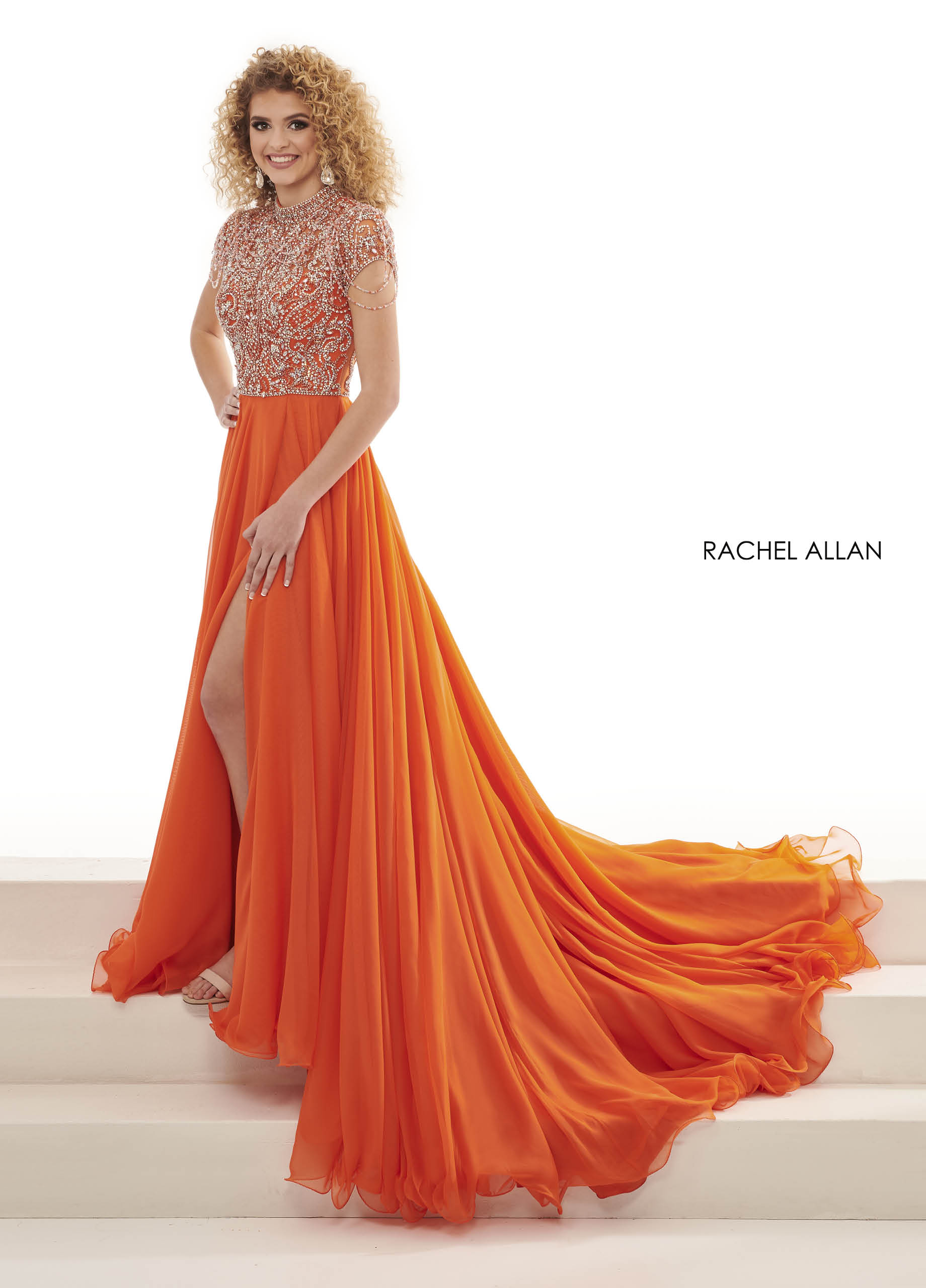 Beaded A-Line Pageant Dresses in Orange Color
