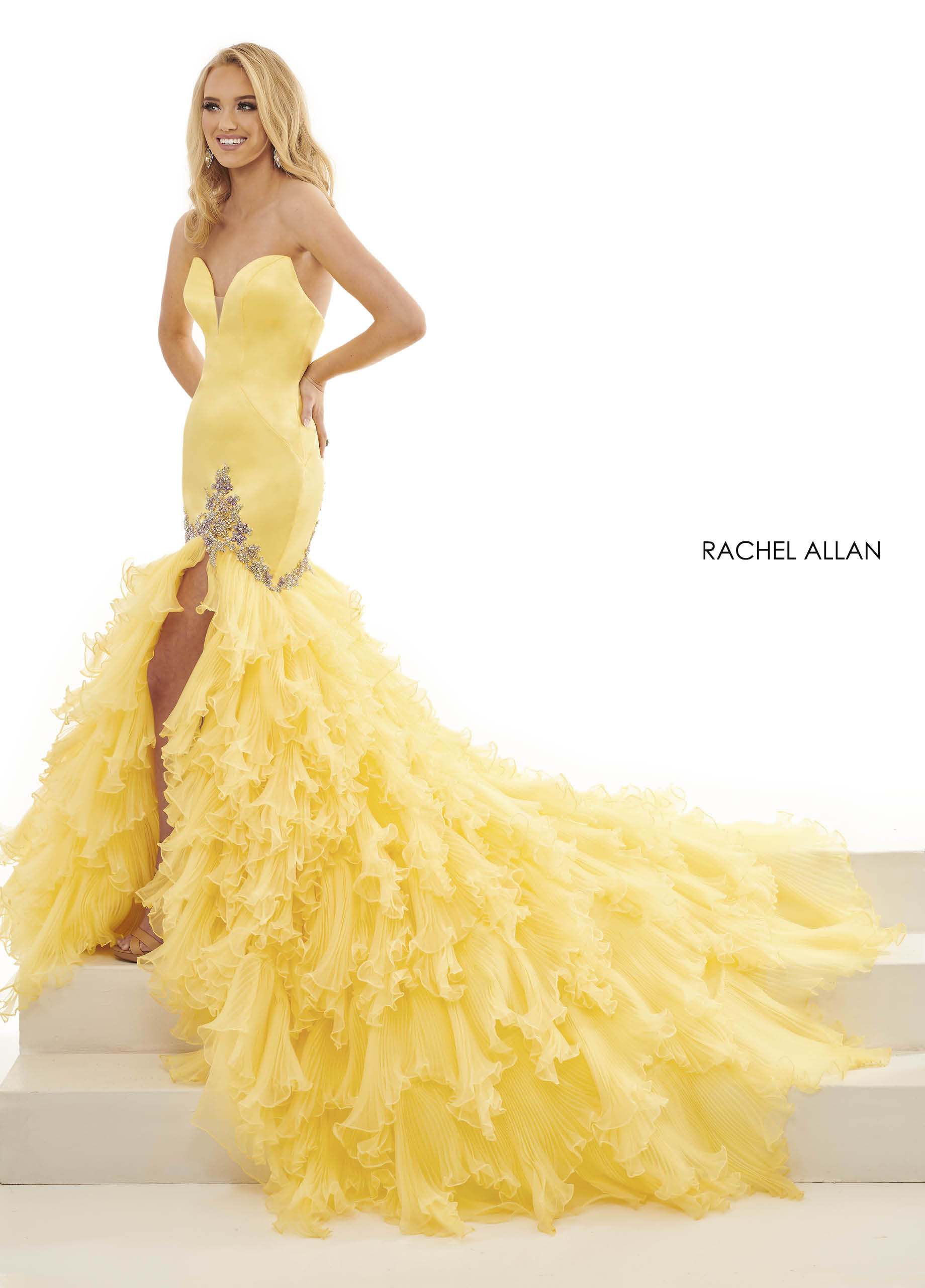 Sweetheart Fitted Long Pageant in Yellow Color