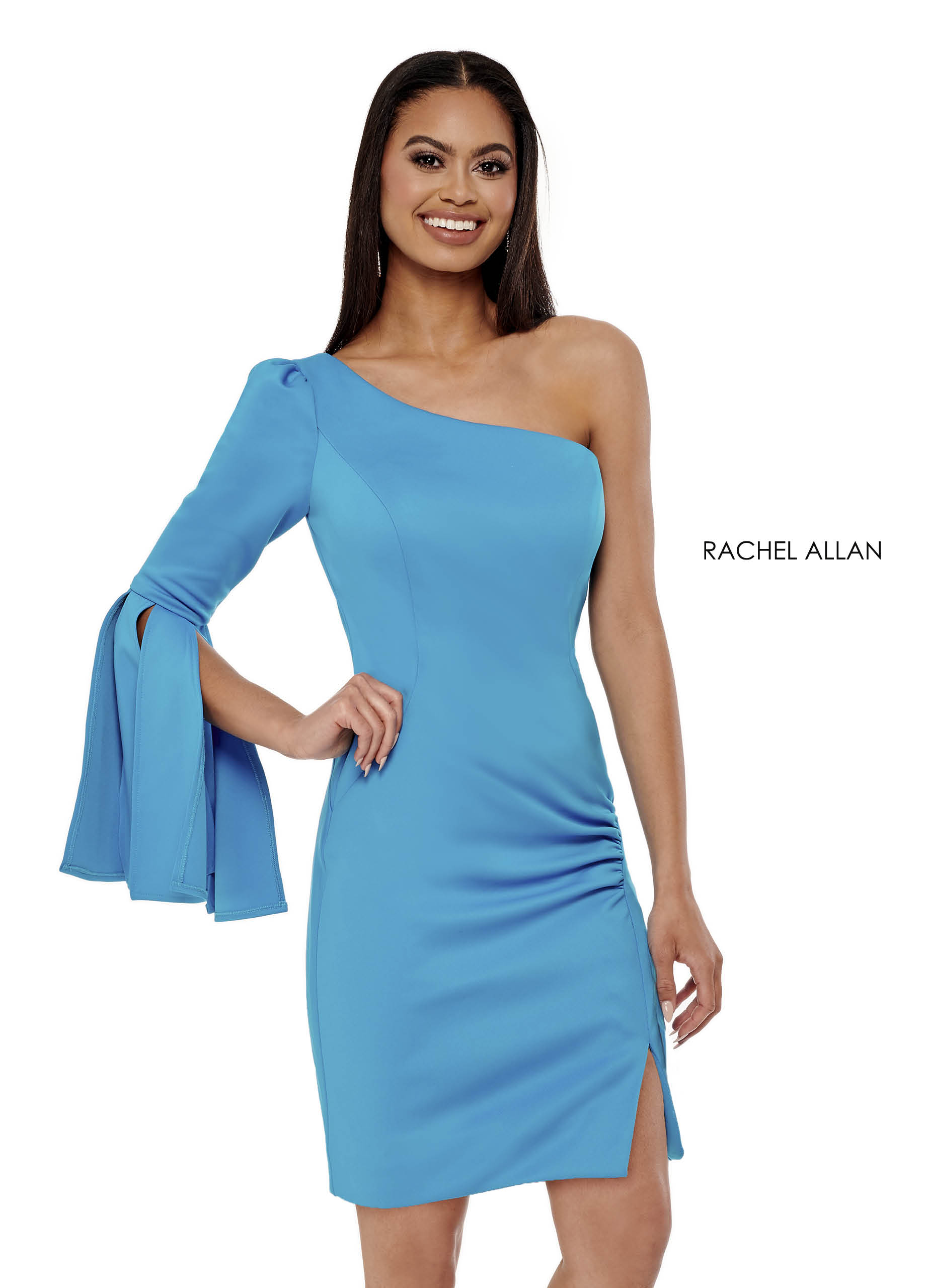 One Shoulder Fitted Mini Pageant Dresses in Blue Color