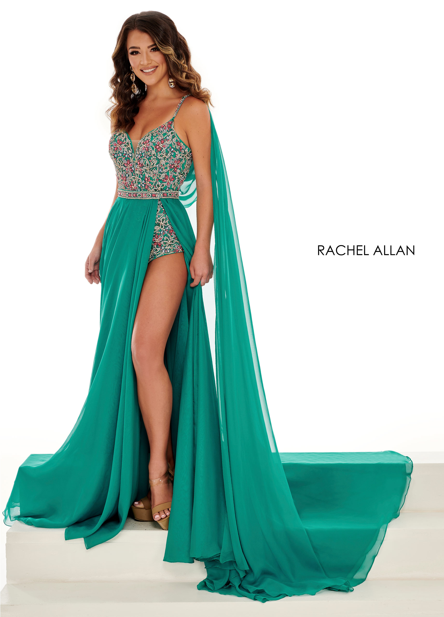 Strappy Bodysuit With Overlay Pageant Dresses in Green Color