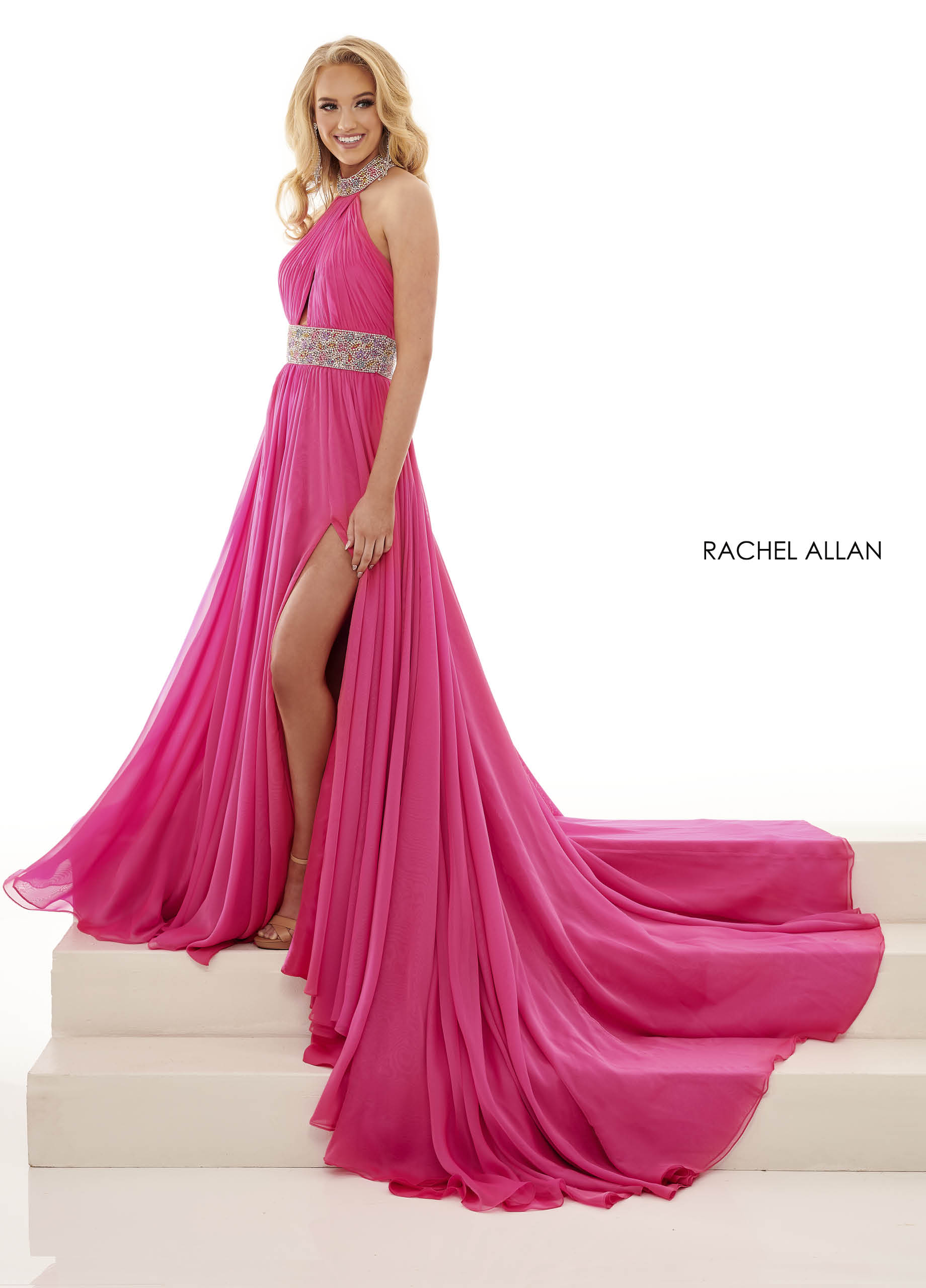 Beaded A-Line Pageant in Magenta Color