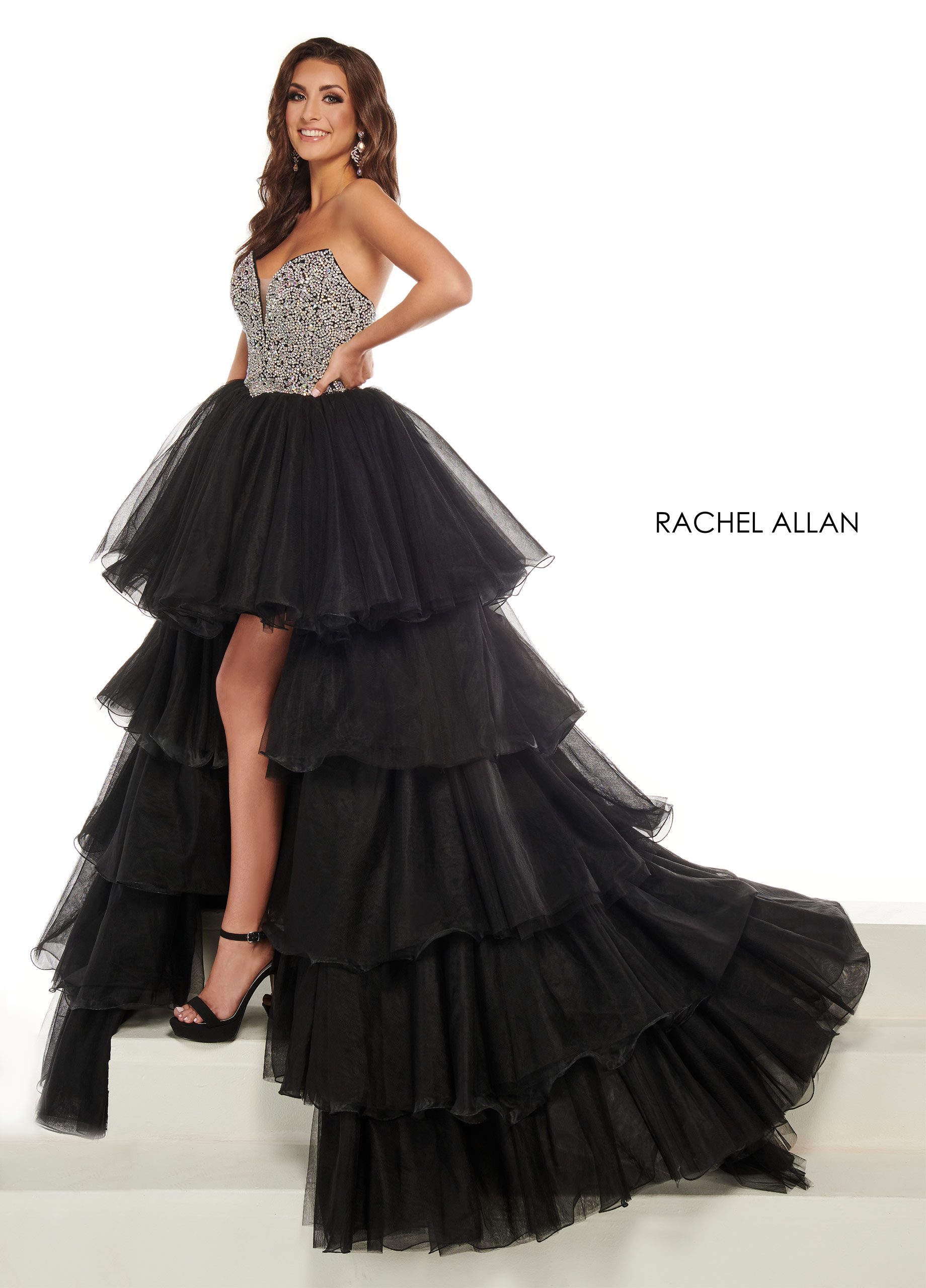 Strapless Hi Low Pageant Dresses in Black Color