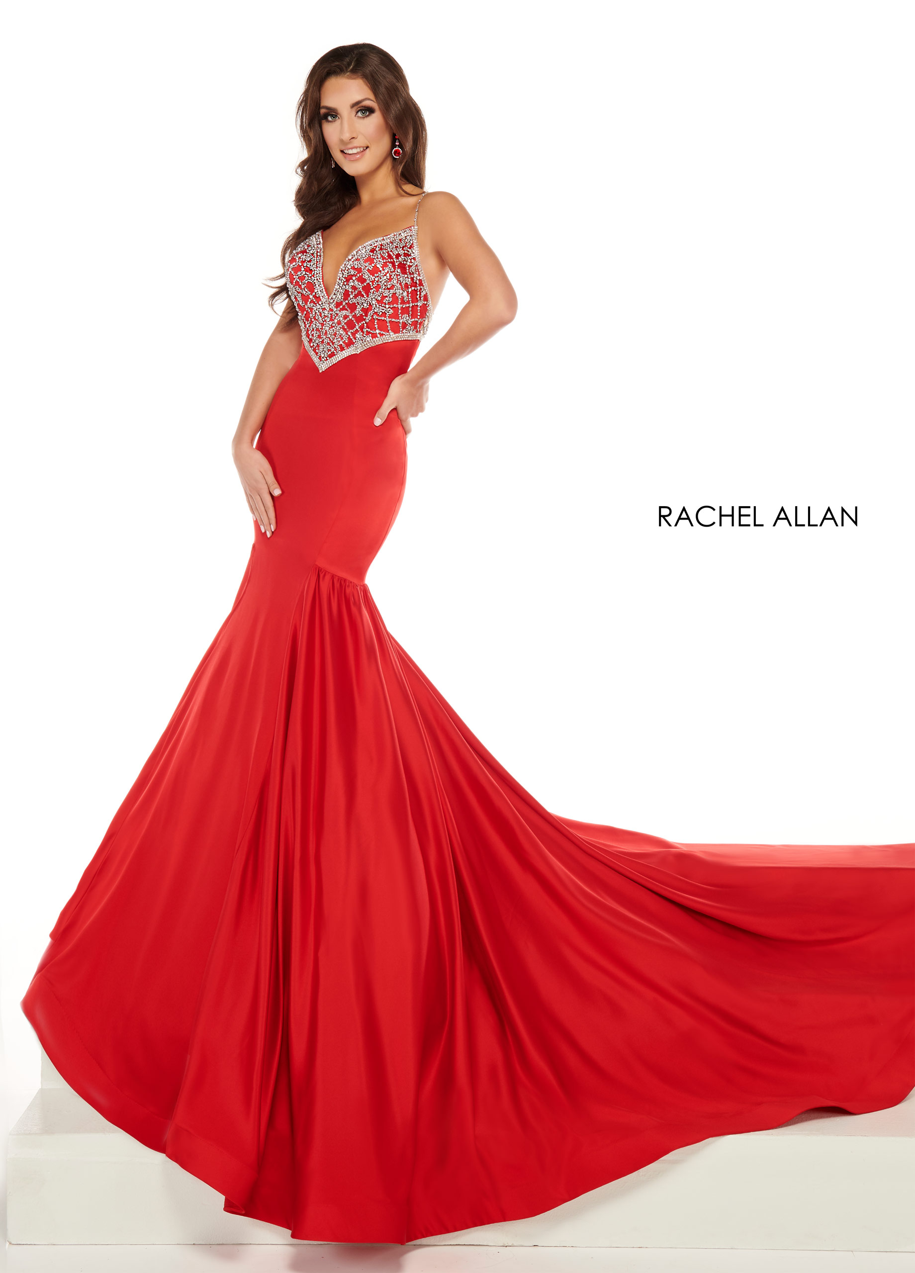 Strappy Drop Waist Pageant Dresses in Red Color