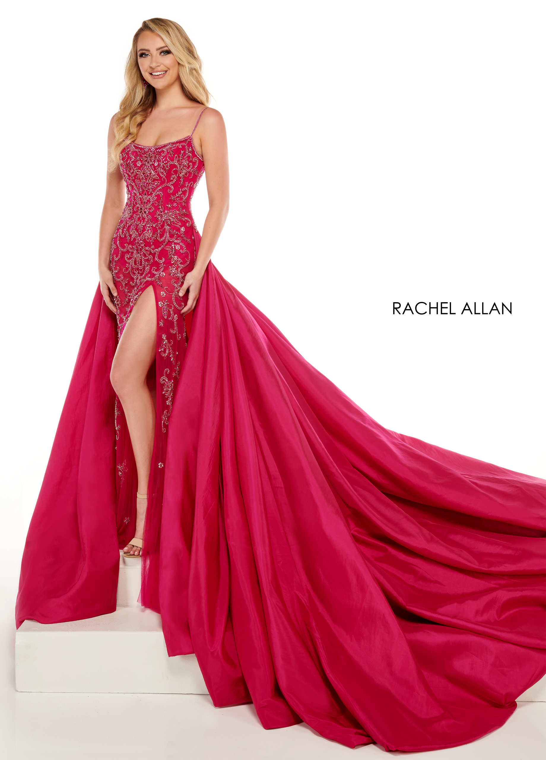 Strappy Fitted Long Pageant Dresses in Magenta Color