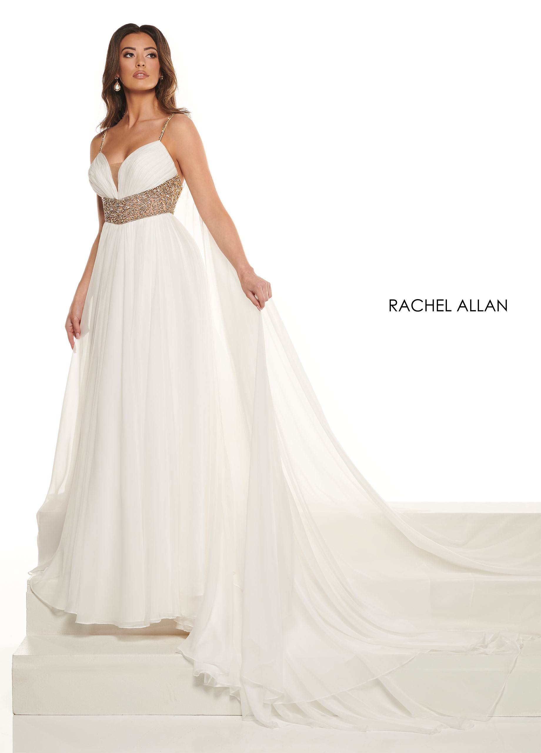Strappy A-Line Pageant Dresses in White Color