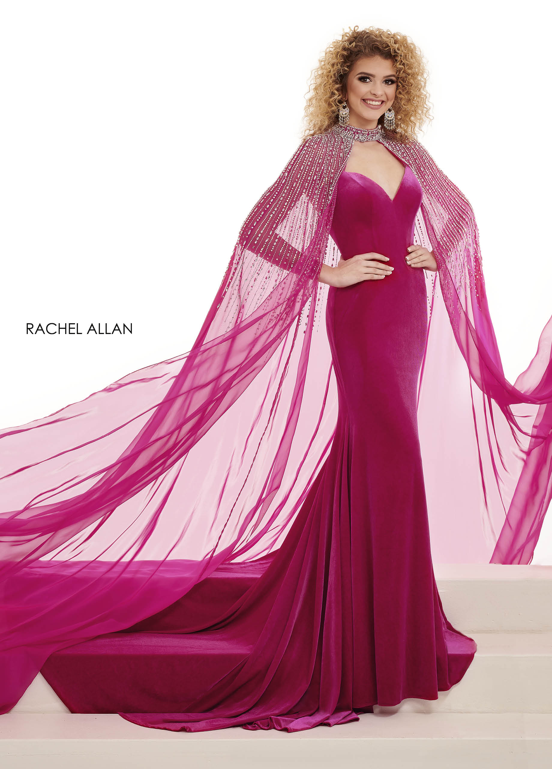 Sweetheart Fitted Long Pageant in Magenta Color