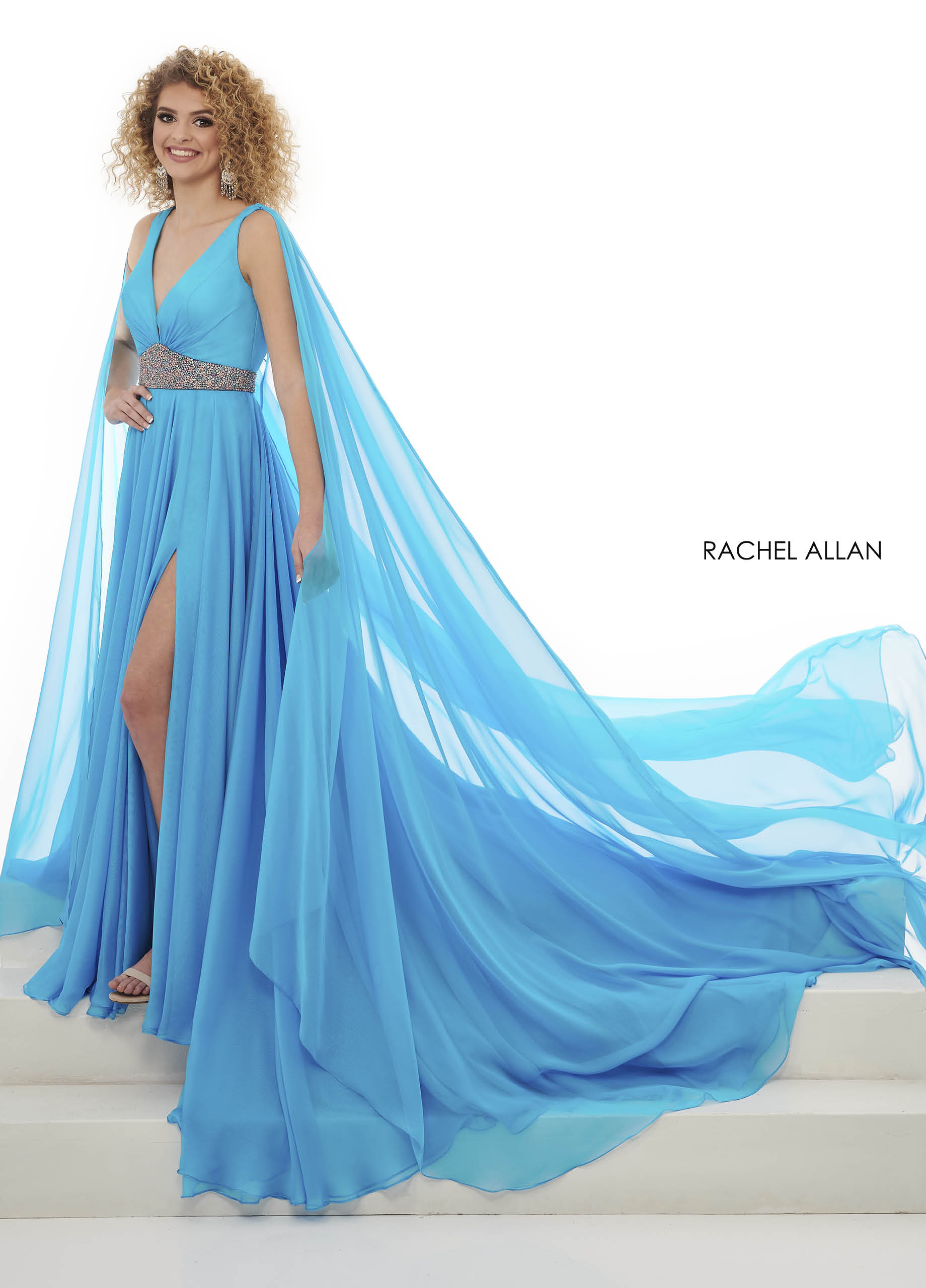 V-Neck A-Line Pageant in Blue Color