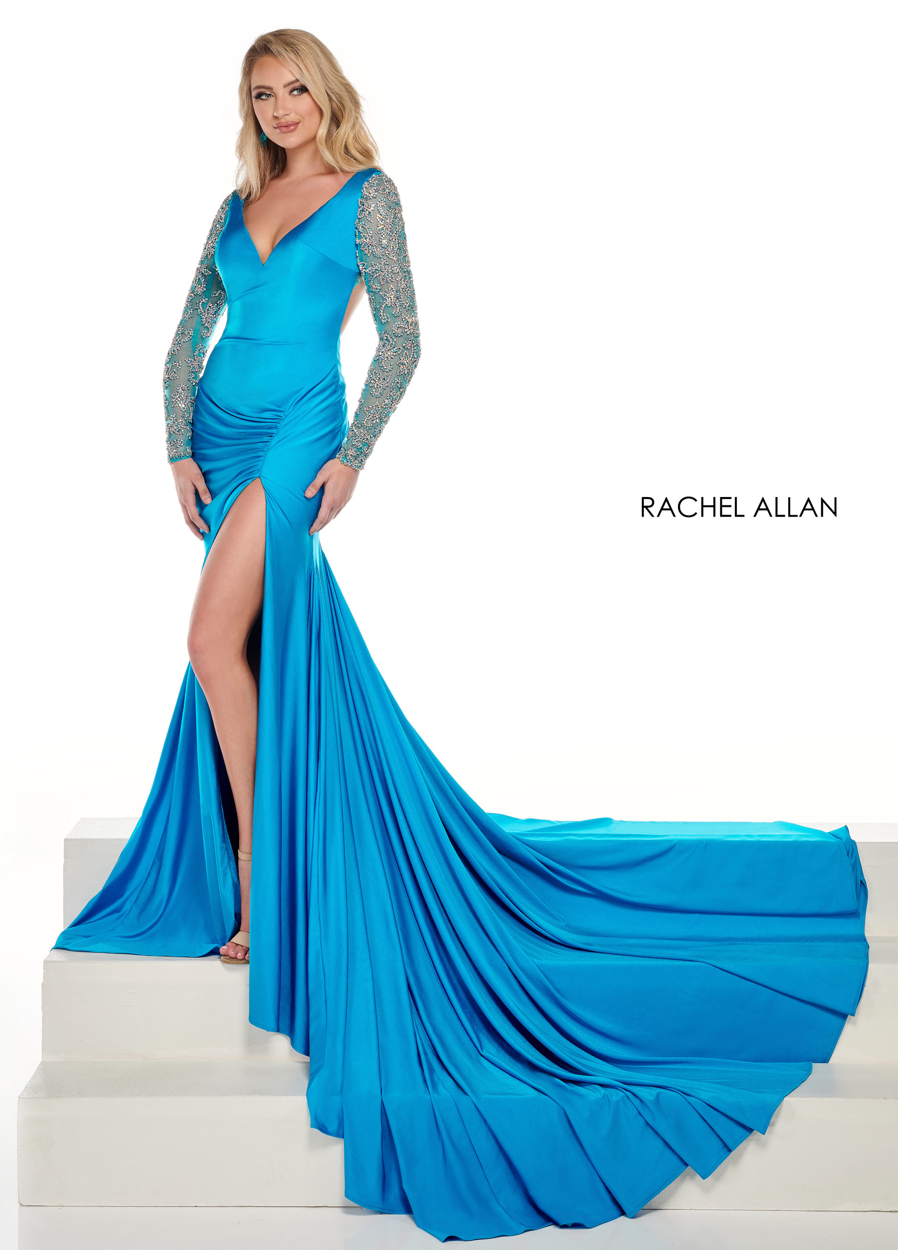 V-Neck Fitted Long Pageant Dresses in Aqua Color