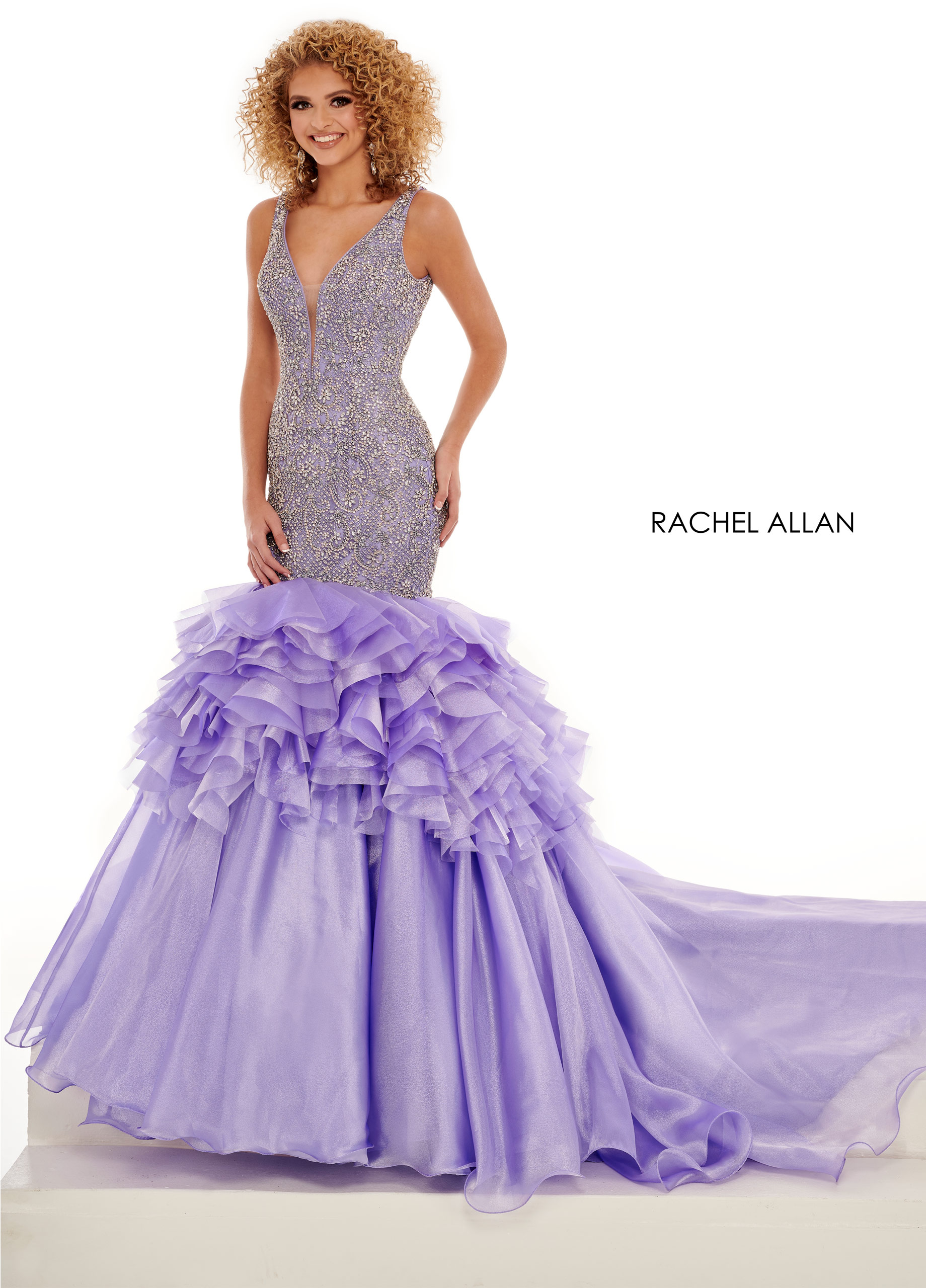 V-Neck Mermaid Pageant Dresses in Lilac Color