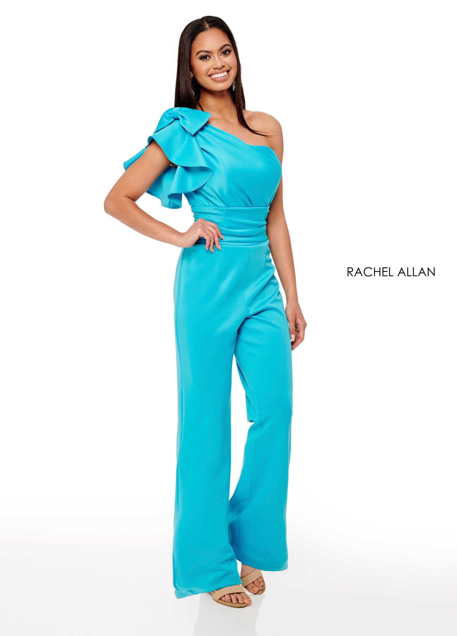 One Shoulder Jumpsuit Fun Fashion/Interview in Turquoise Color