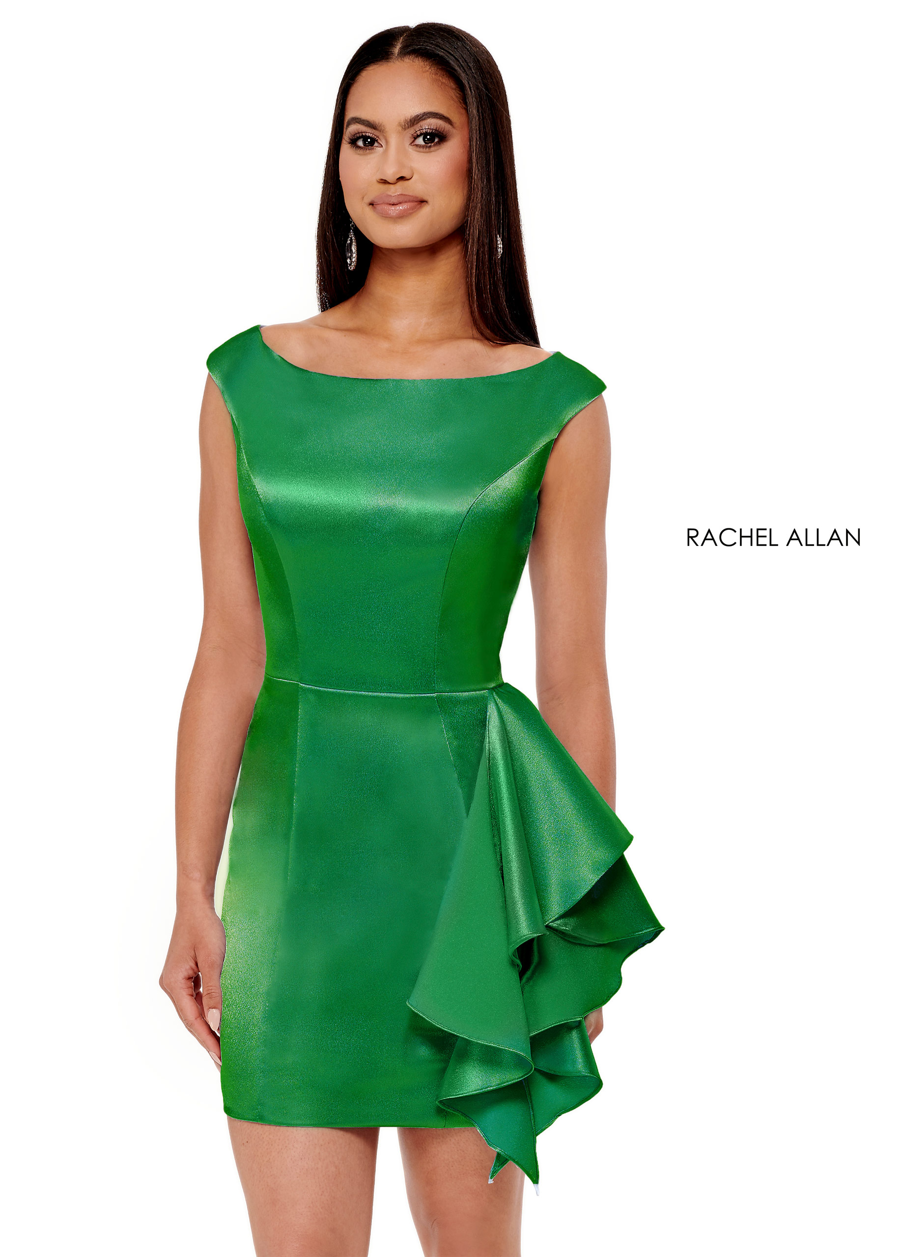 Square Fitted Mini Pageant Dresses in Emerald Color
