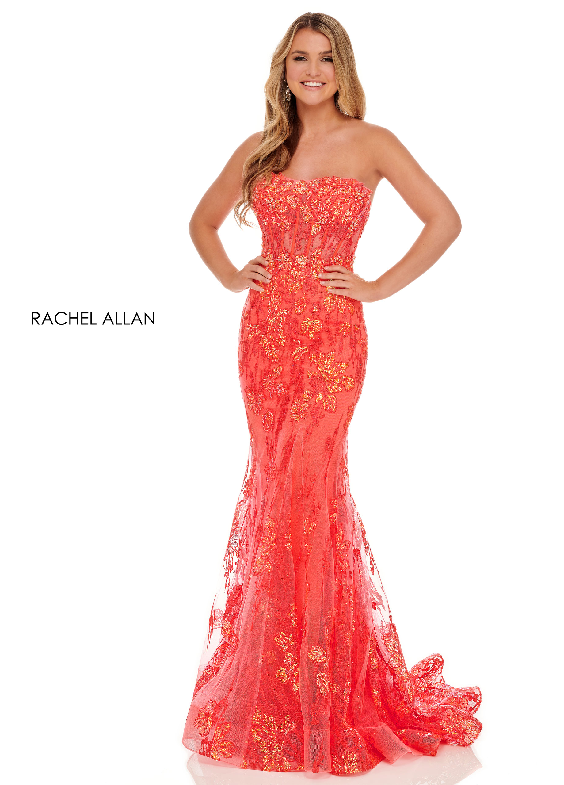 Strapless Fitted Long Prom Dresses in Coral Color