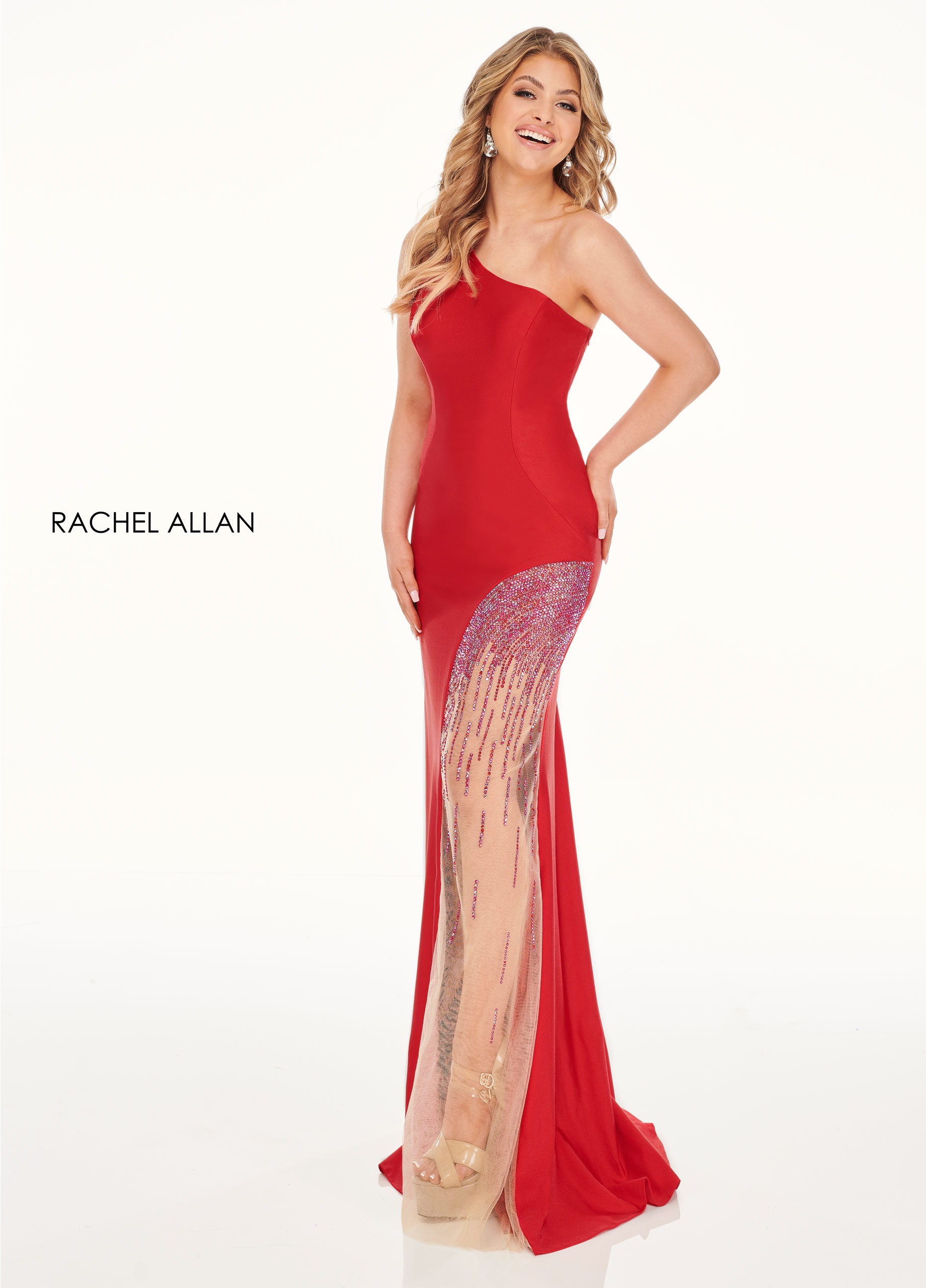 One Shoulder Fitted Long Prom Dresses in Red Color