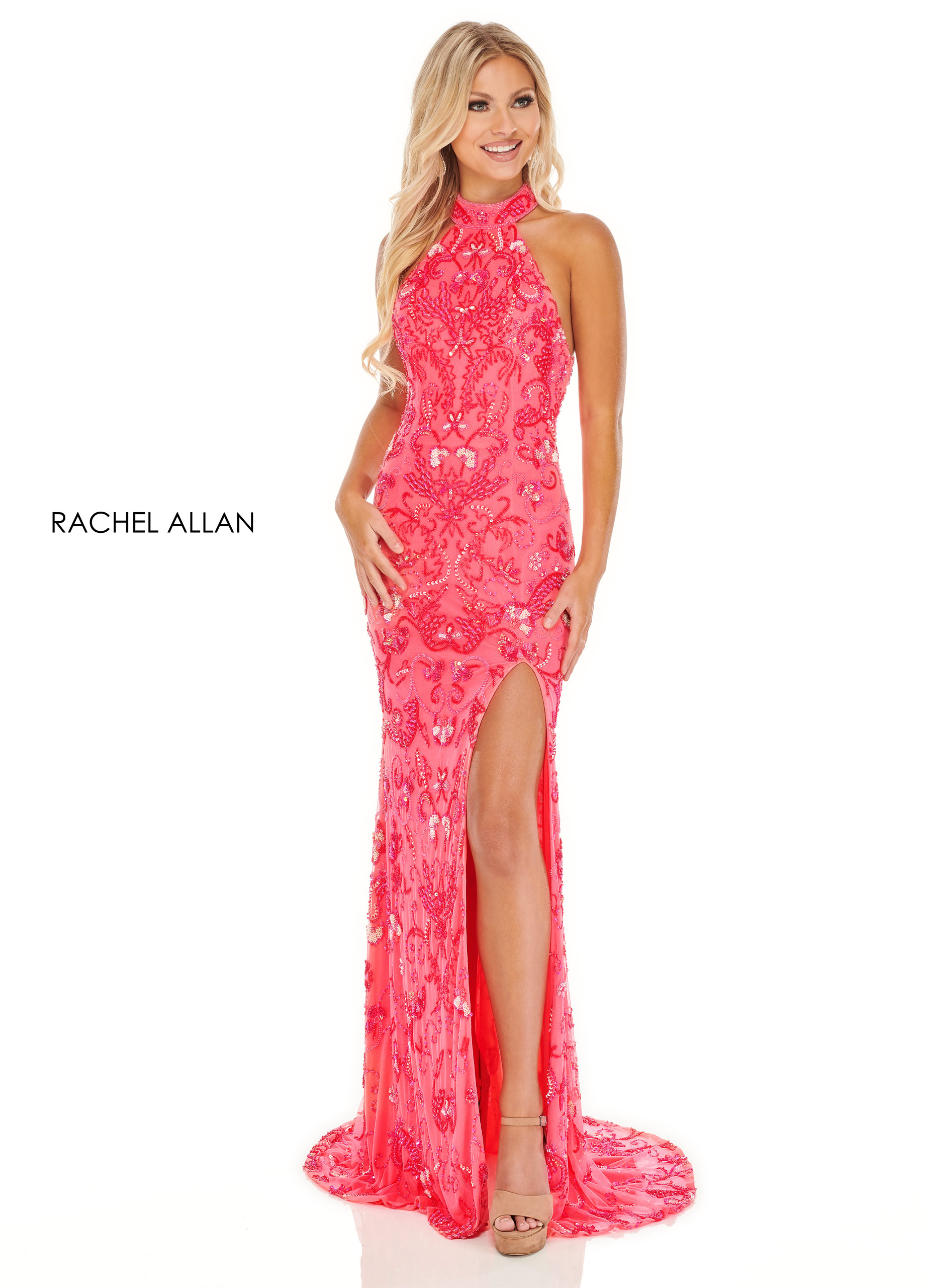 Halter Fitted Long Prom Dresses in Pink Color