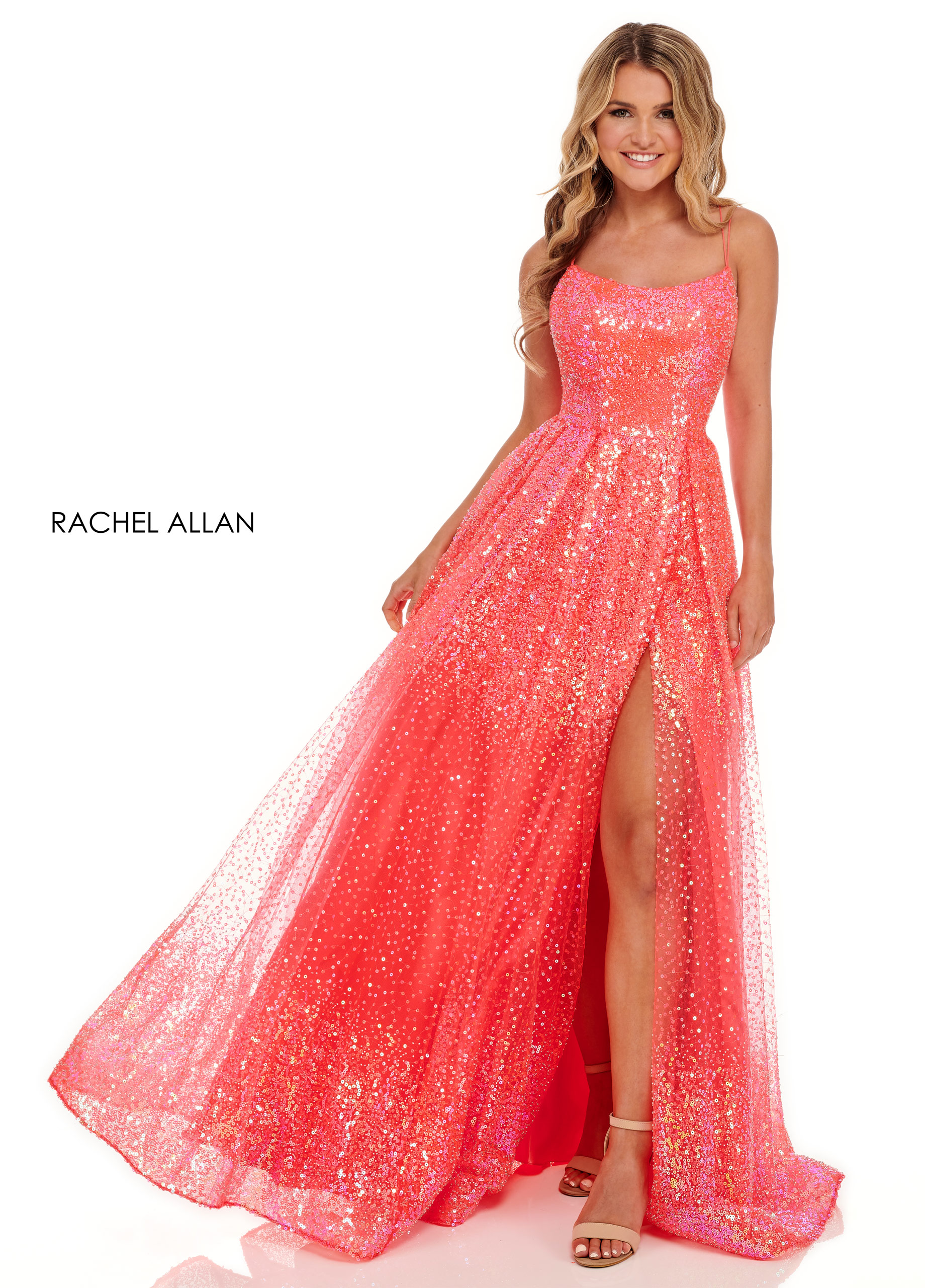 Scoop Neck Ball Gowns BEST SELLERS in Coral Color