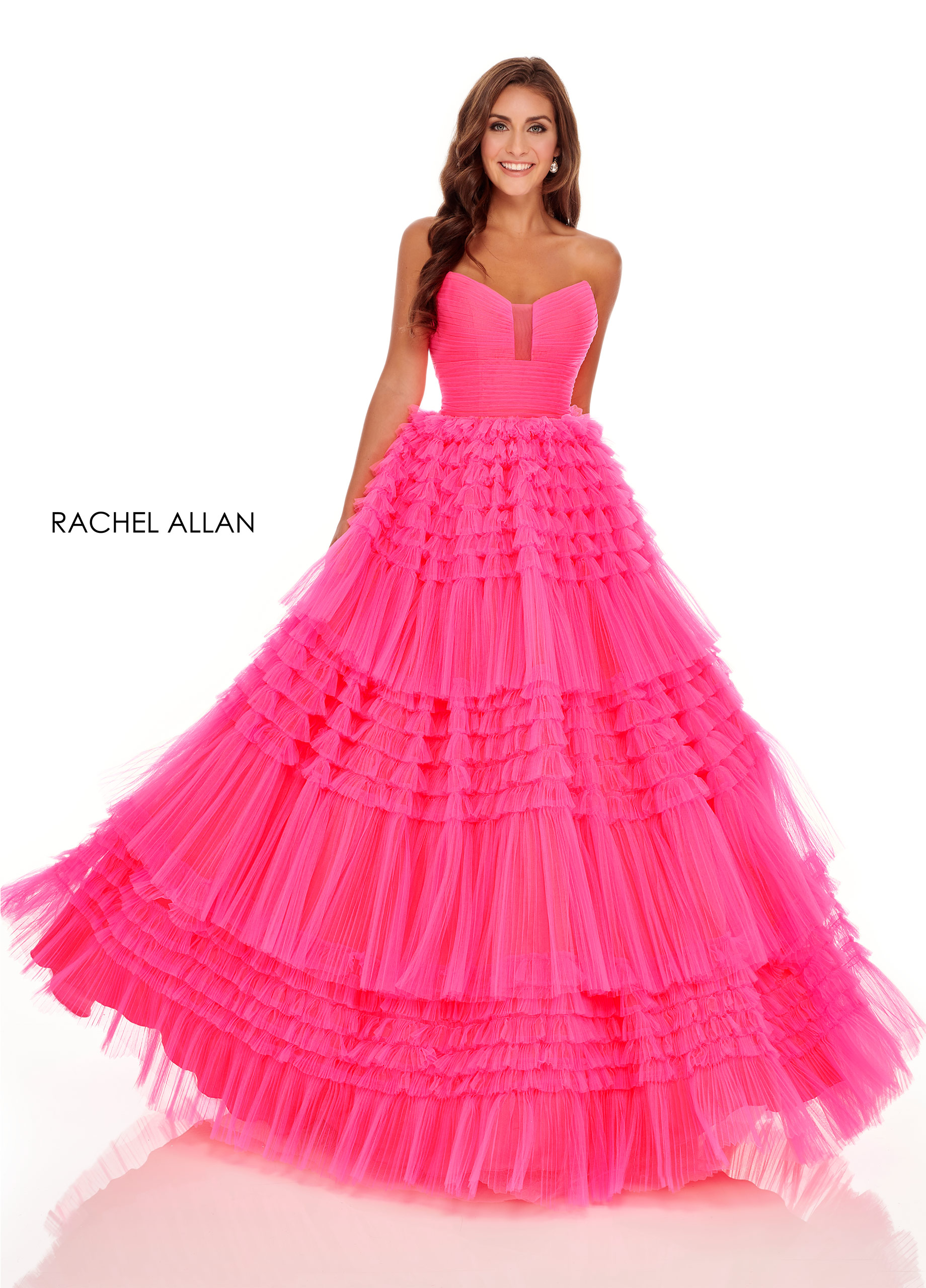Strapless Ball Gowns Prom Dresses in Pink Color