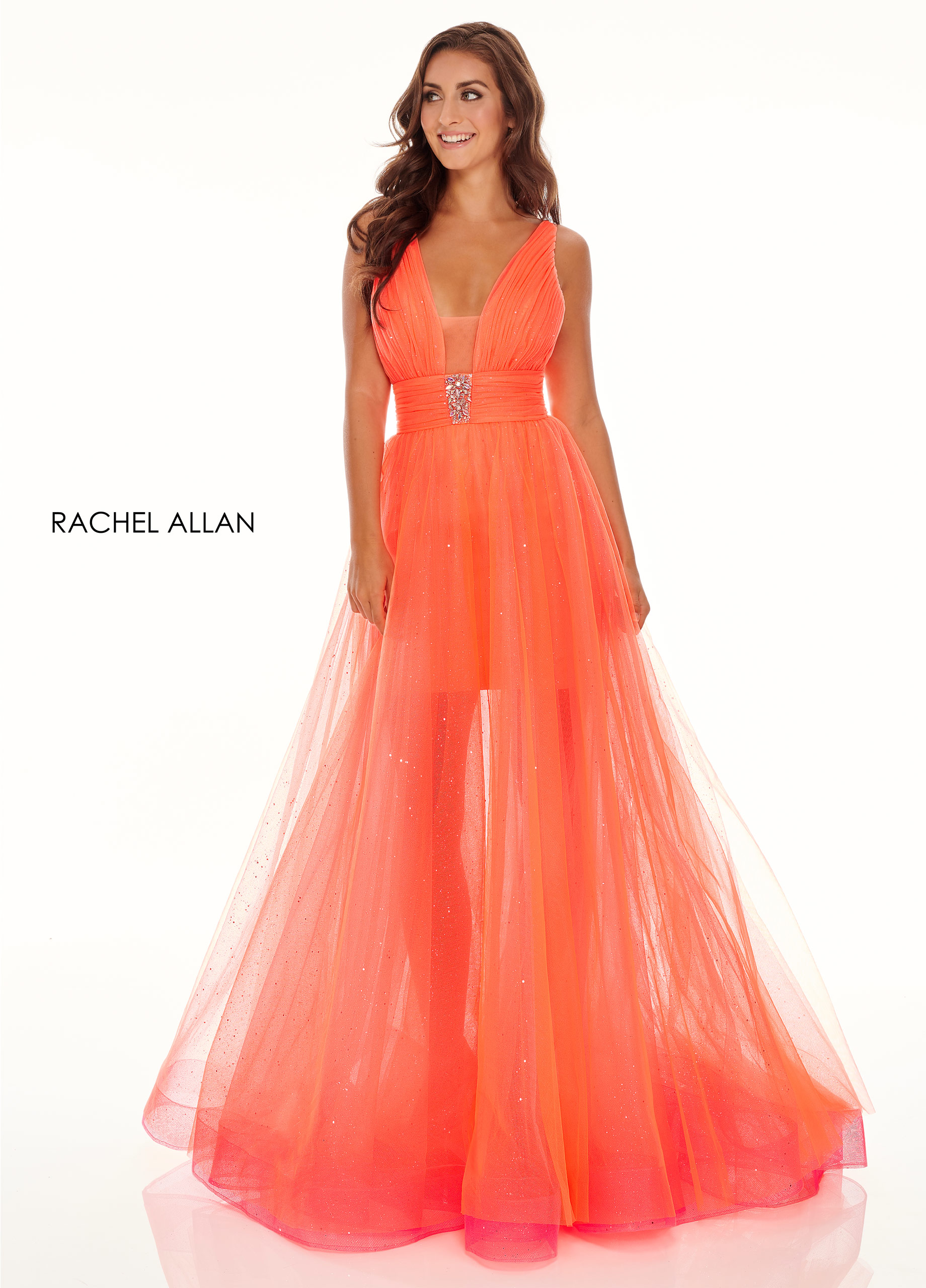 V-Neck Skirt With Overlay Prom Dresses in Coral Color