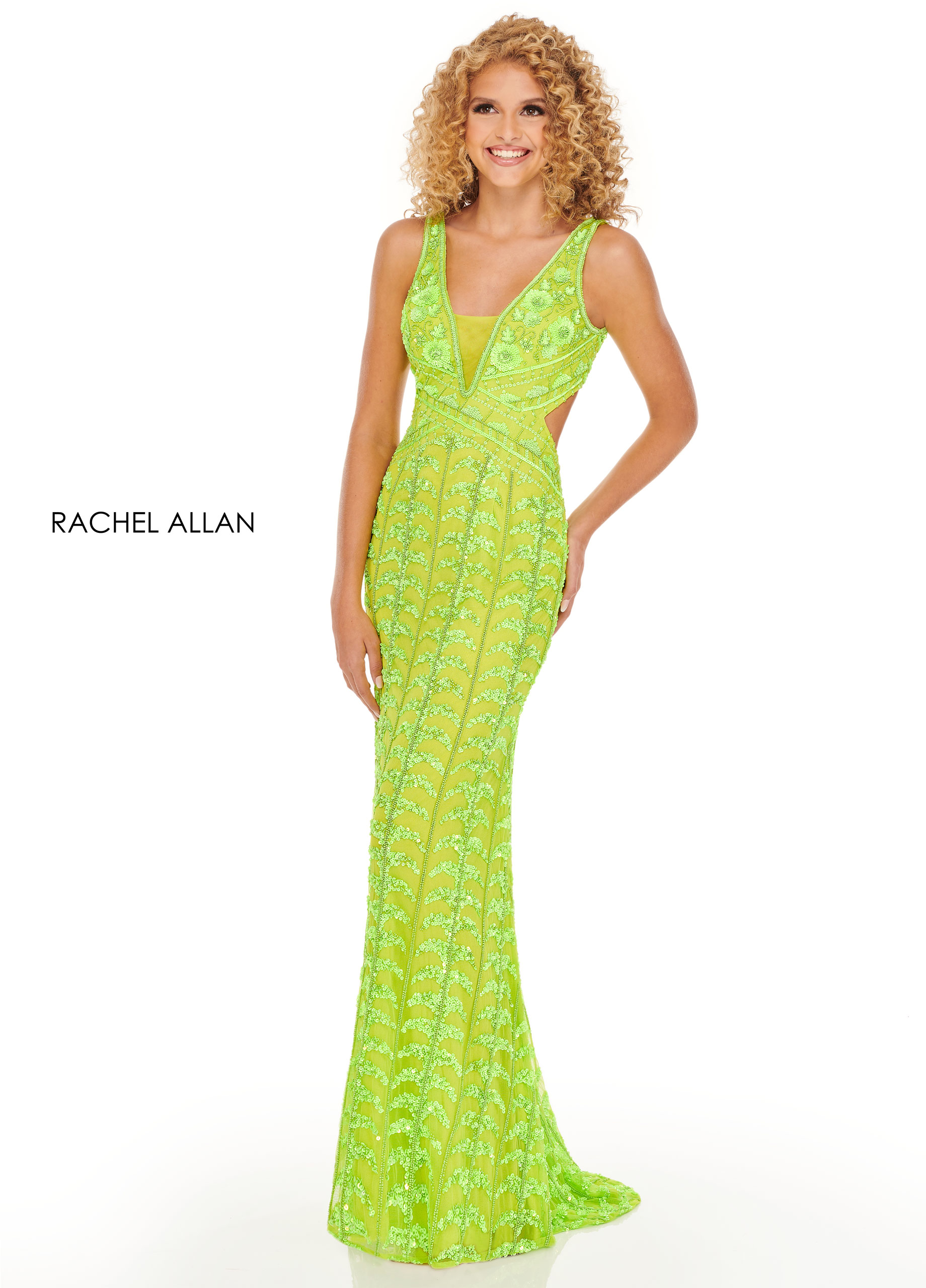 V-Neck Fitted Long Prom Dresses in Yellow Color