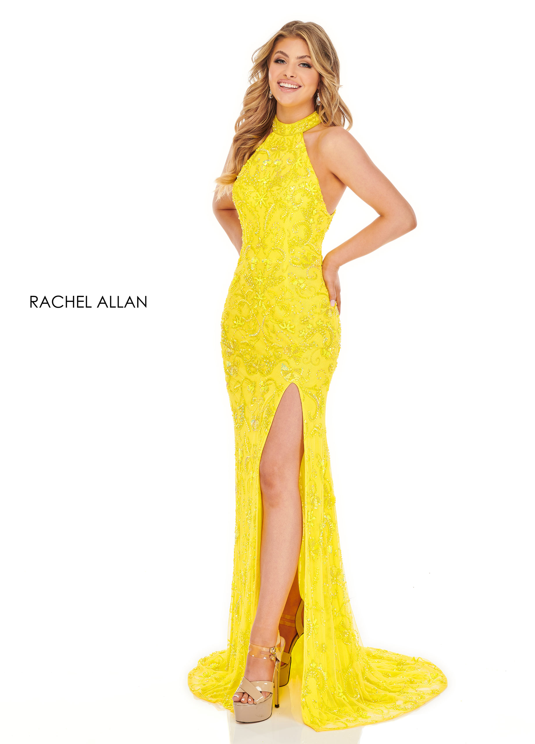 Halter Fitted Long BEST SELLERS in Yellow Color