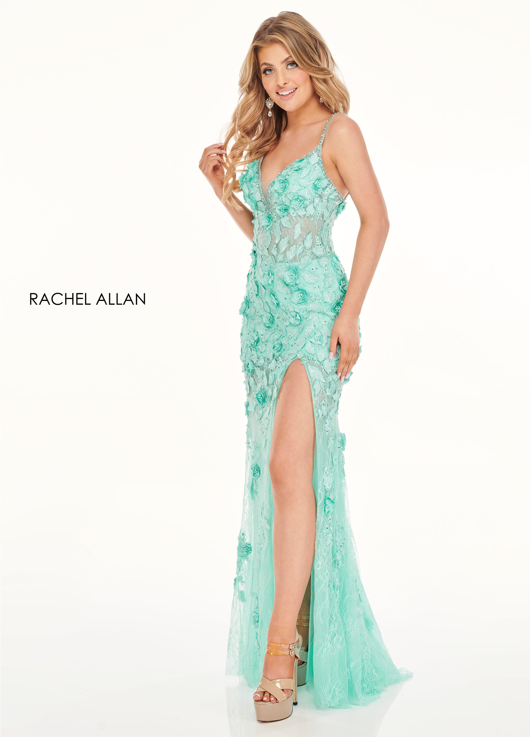 Sweetheart Fitted Long Prom Dresses in Aqua Color