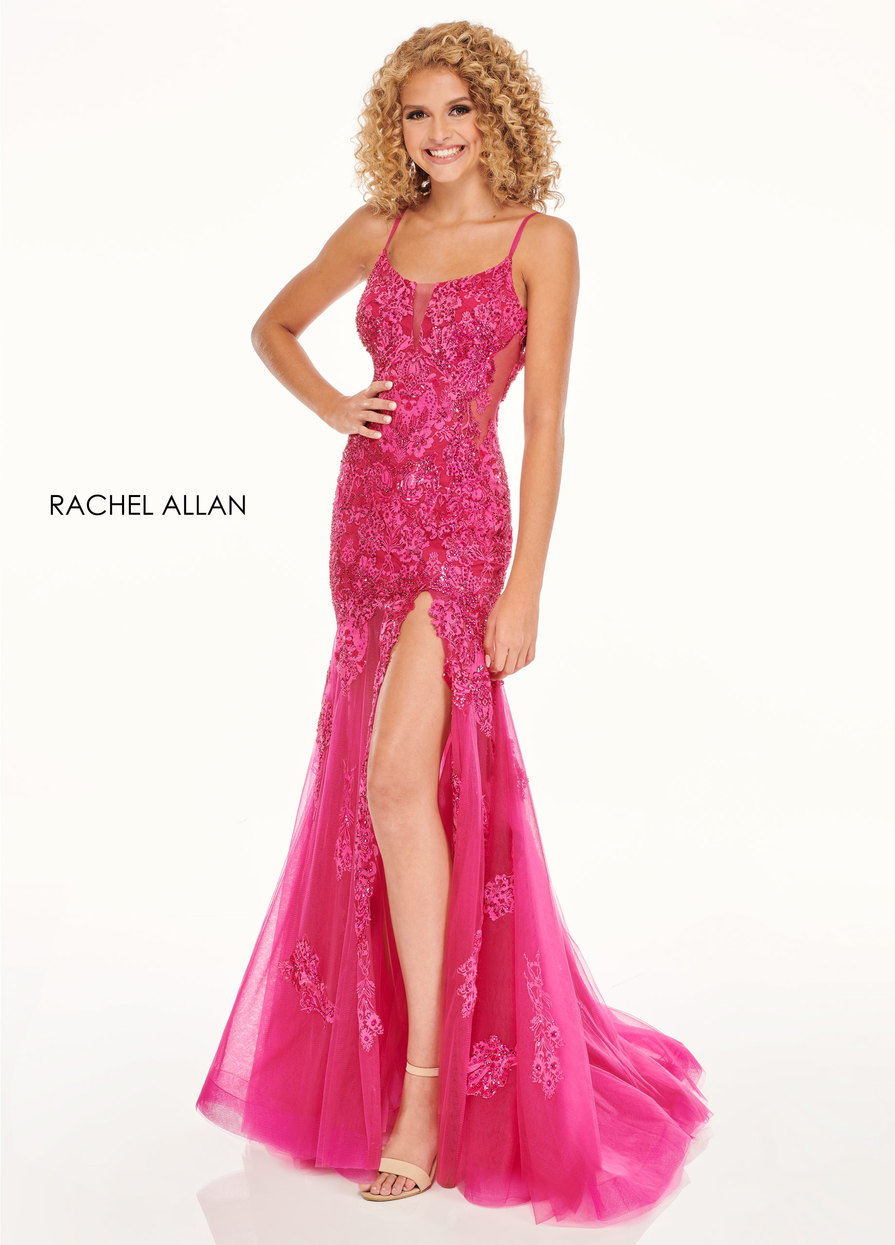 Scoop Neck Fitted Long Prom Dresses in Fuchsia Color