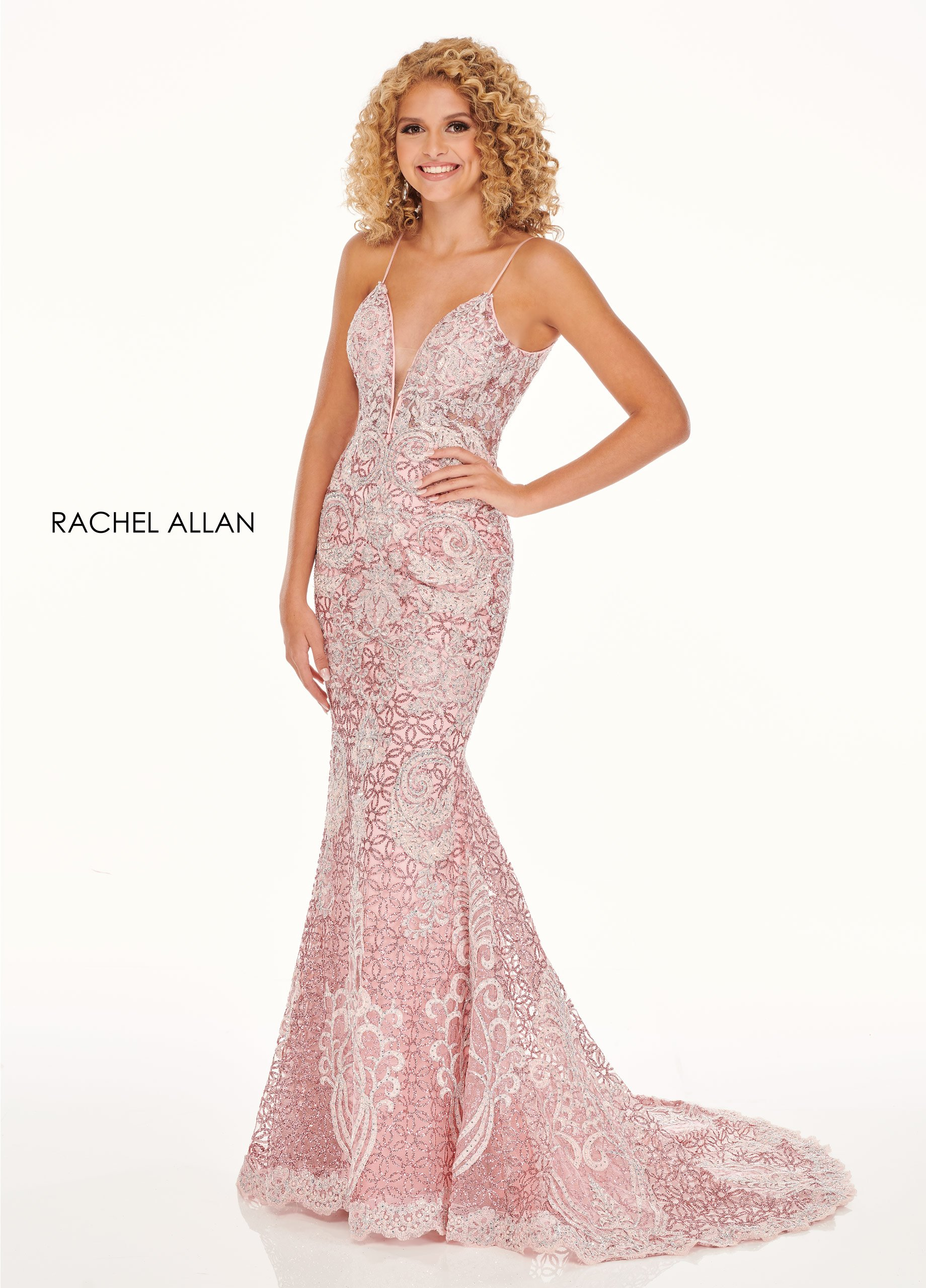 V-Neck Fitted Long Prom Dresses in Pink Color