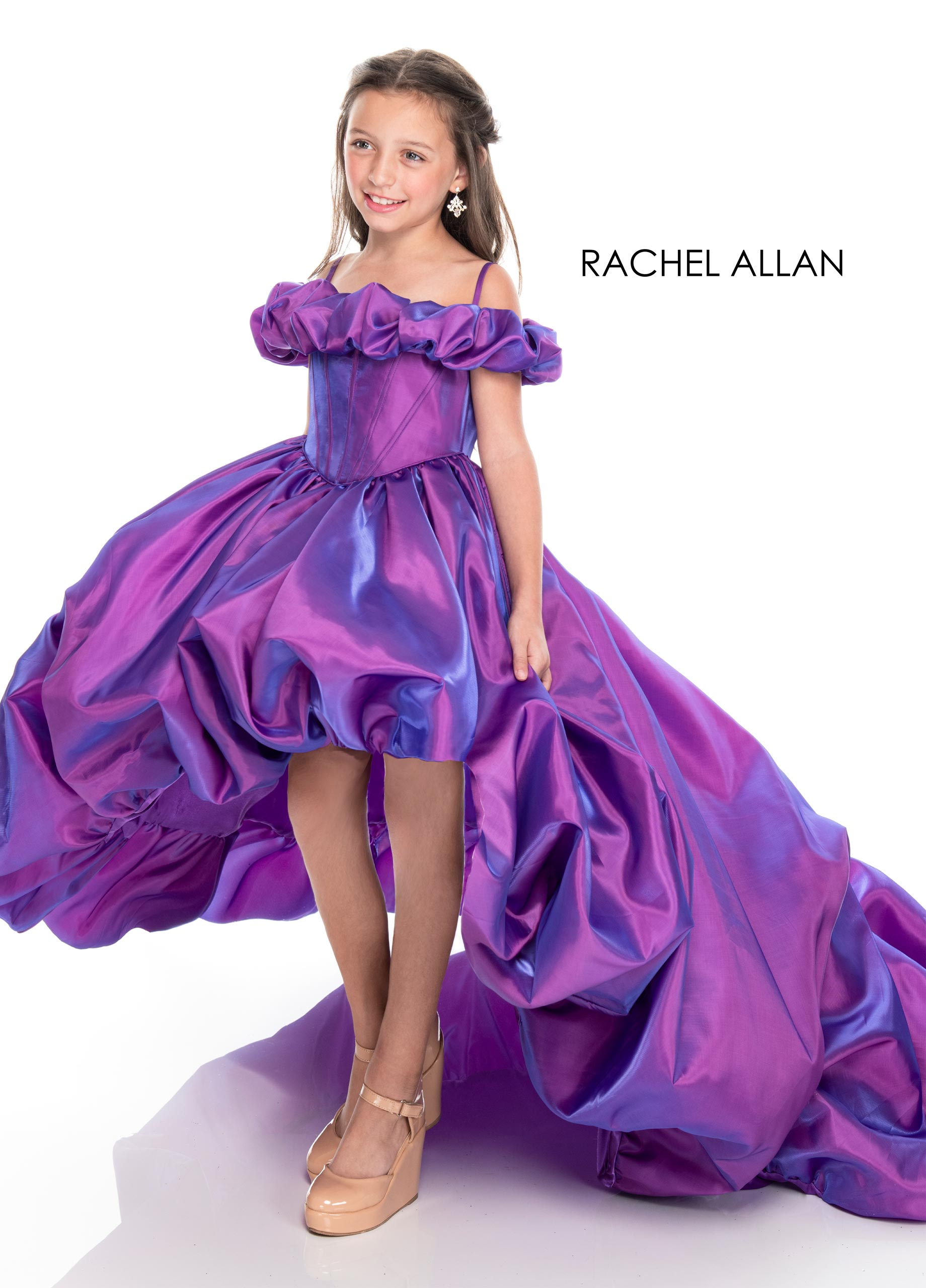 Off The Shoulder Ball Gowns Little Girl Pageant Dresses in Purple Color