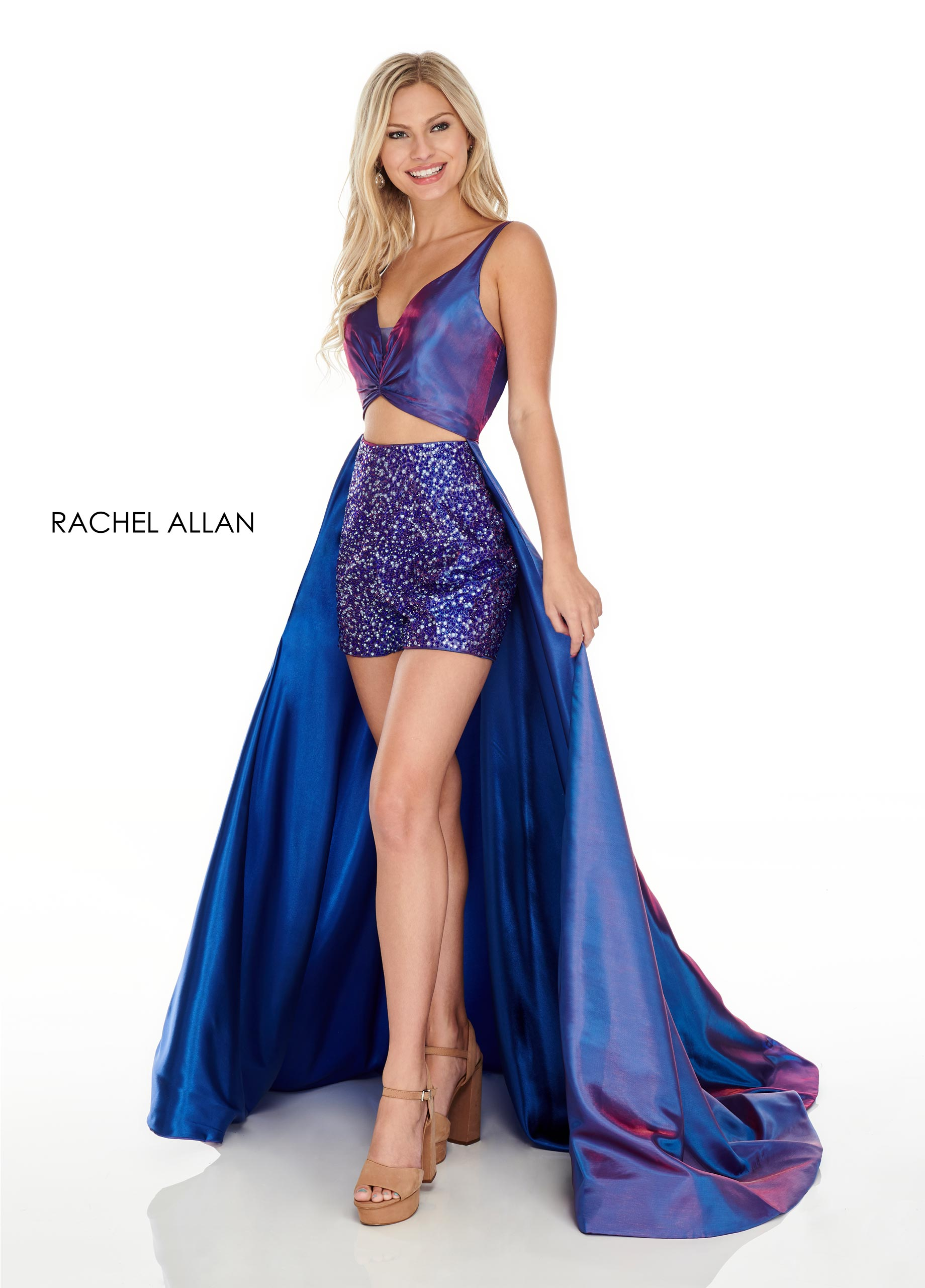 V-Neck Shorts With Overlay Prom Dresses in Purple Color