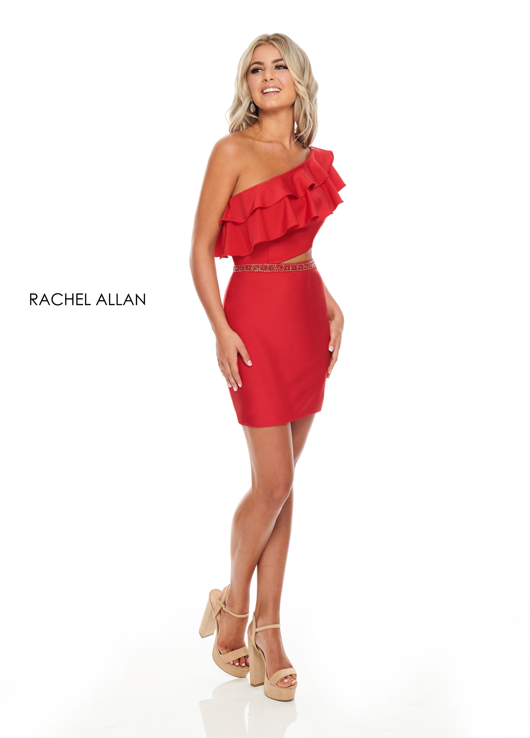 One Shoulder Fitted Mini Cocktail Dresses in Red Color