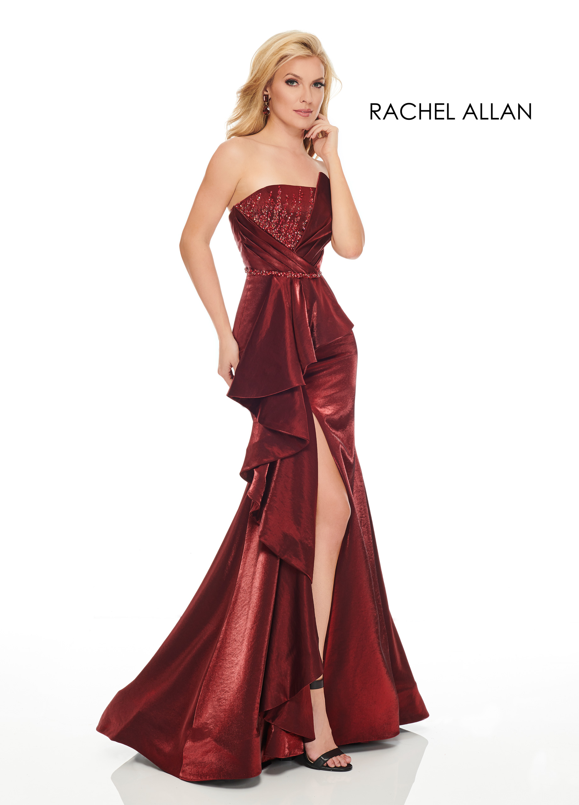 Strapless Mermaid Couture Dresses in Red Color