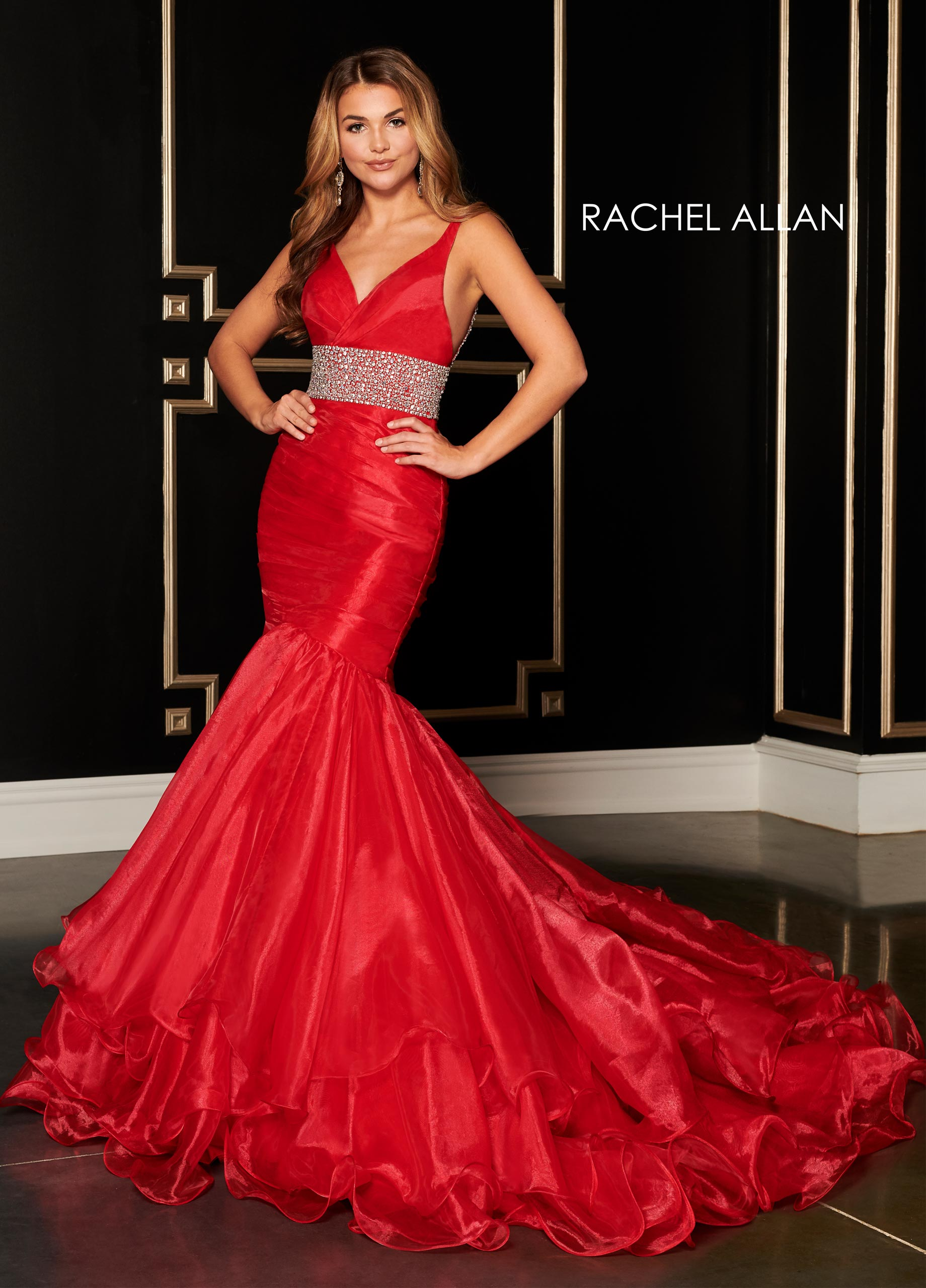 V-Neck Mermaid Pageant Dresses in Red Color
