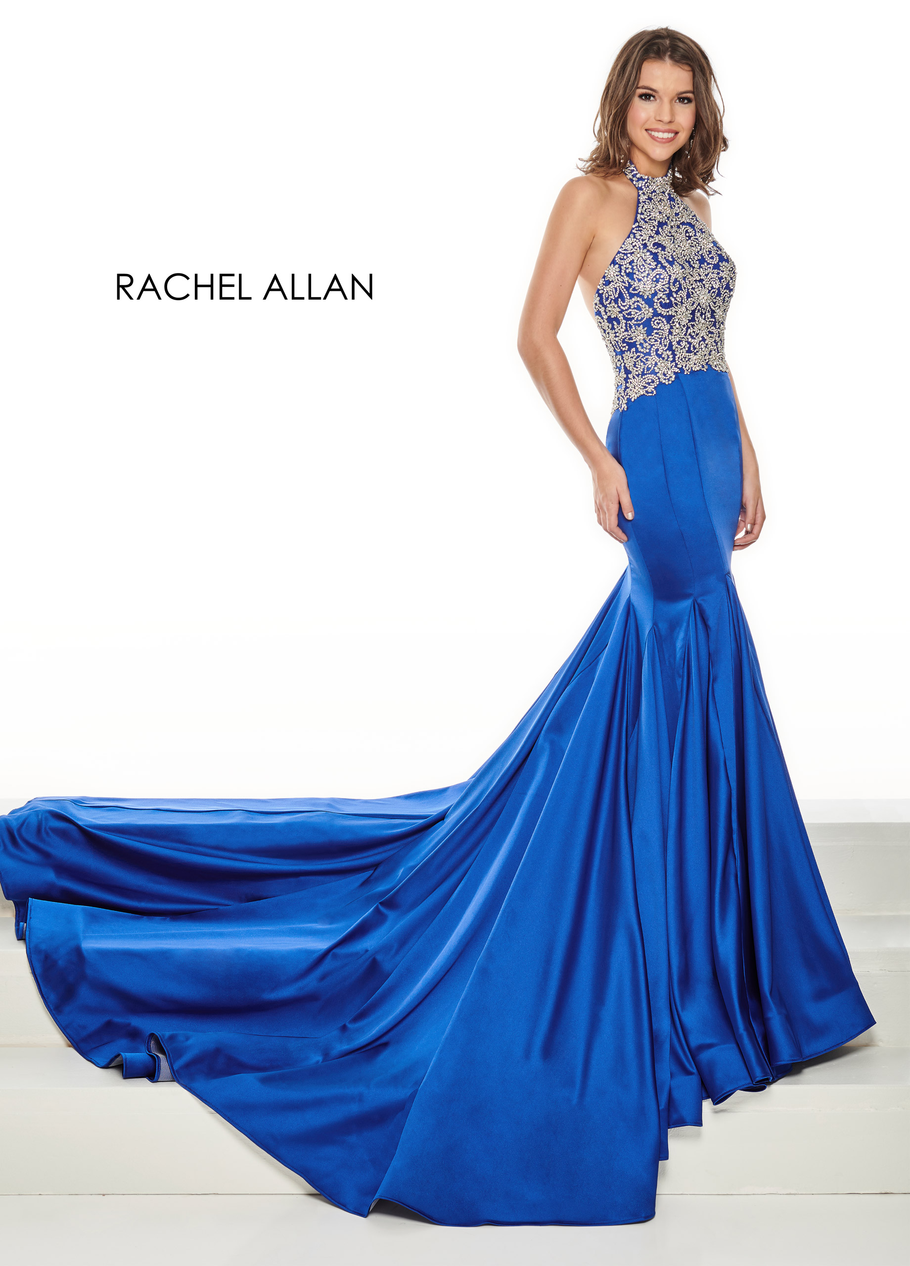 Halter Mermaid Pageant Dresses in Royal Color