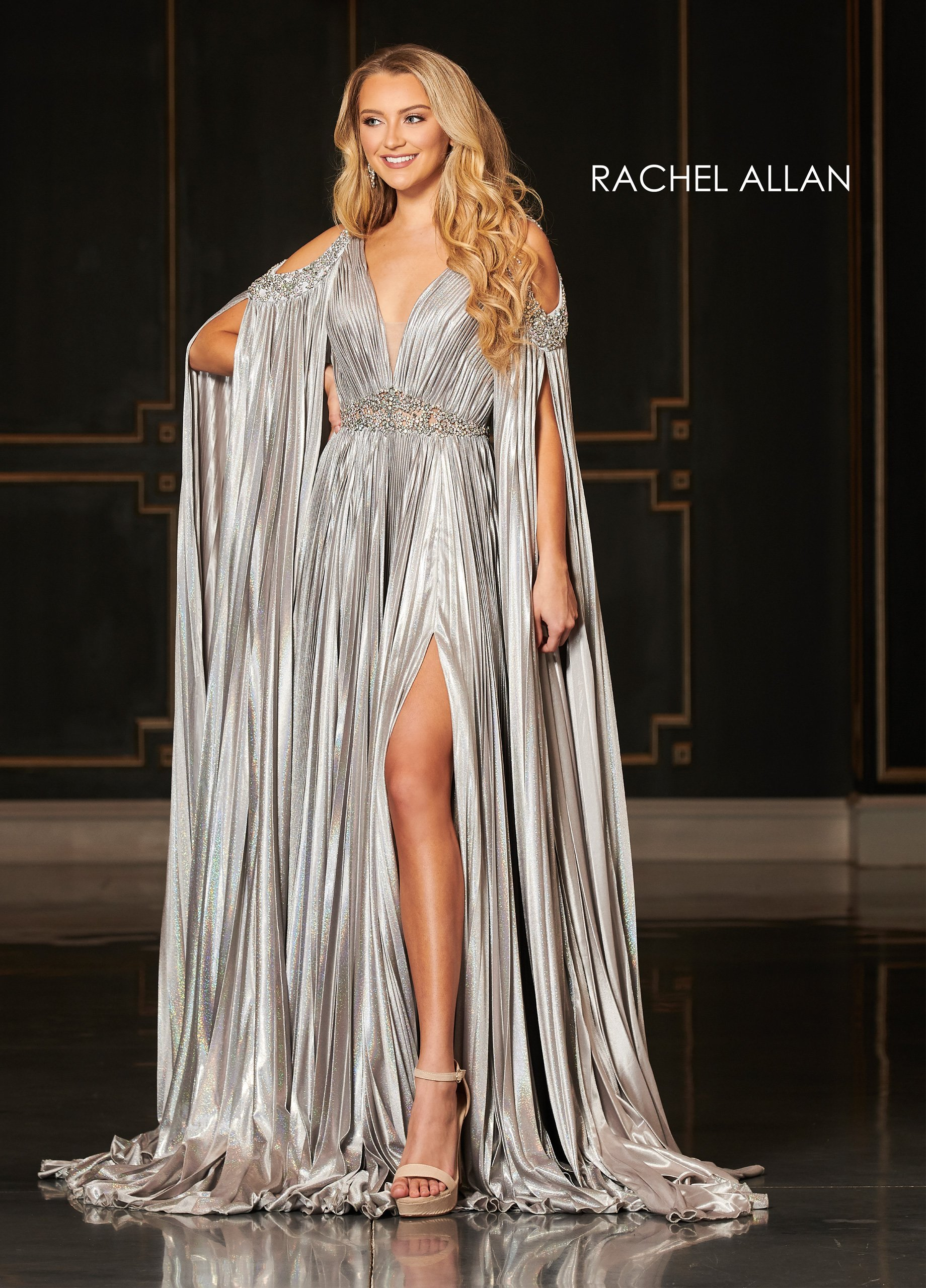 V-Neck A-Line Couture Dresses in Silver/gunmetal Color
