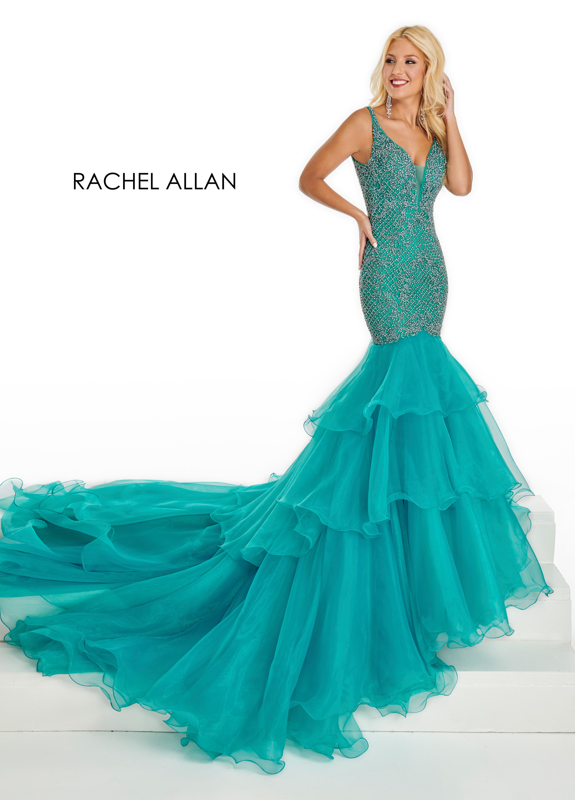 V-Neck Mermaid Pageant Dresses in Turquoise Color
