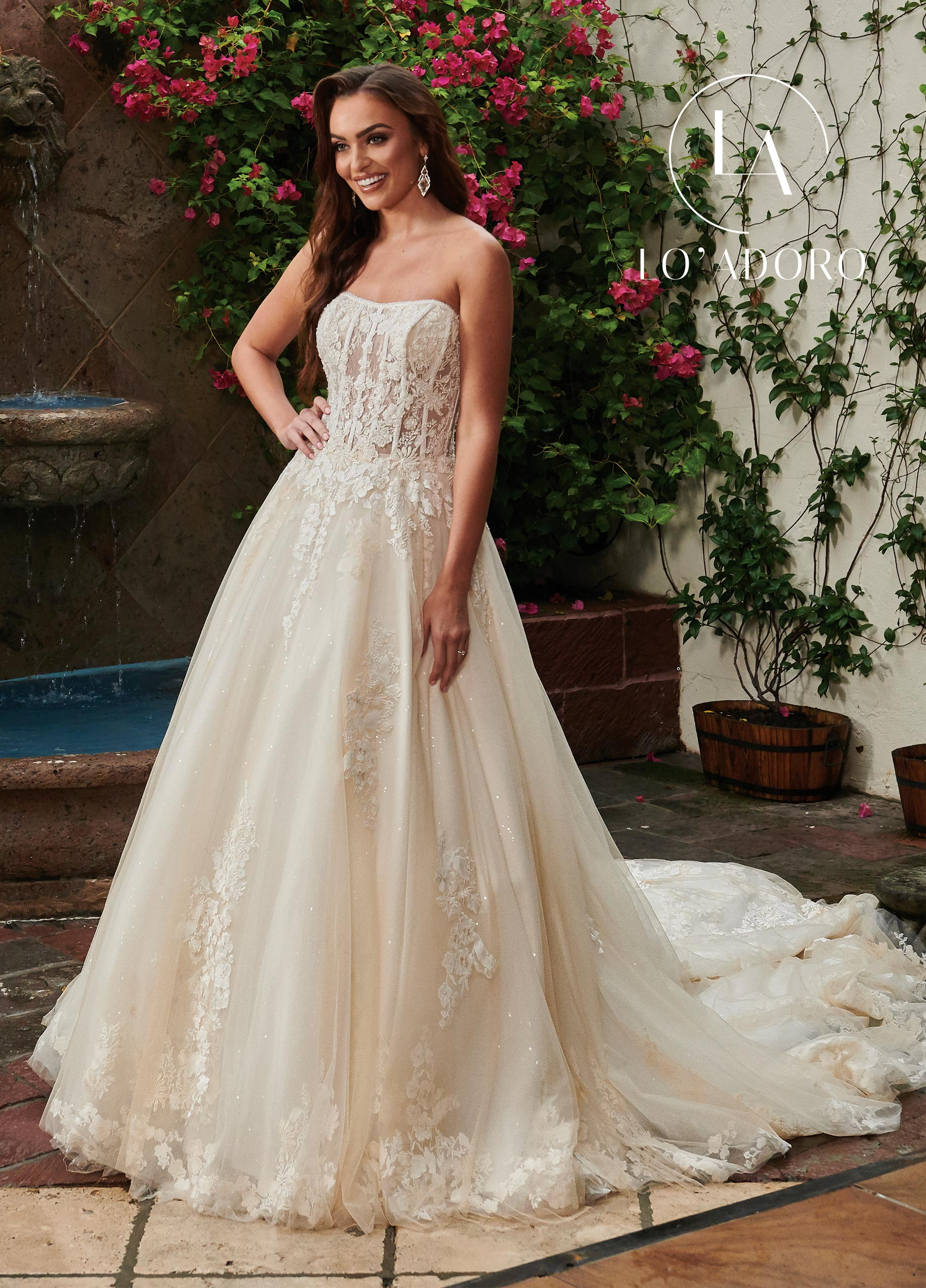 Strapless Ball Gowns Lo' Adoro Bridal in White Color