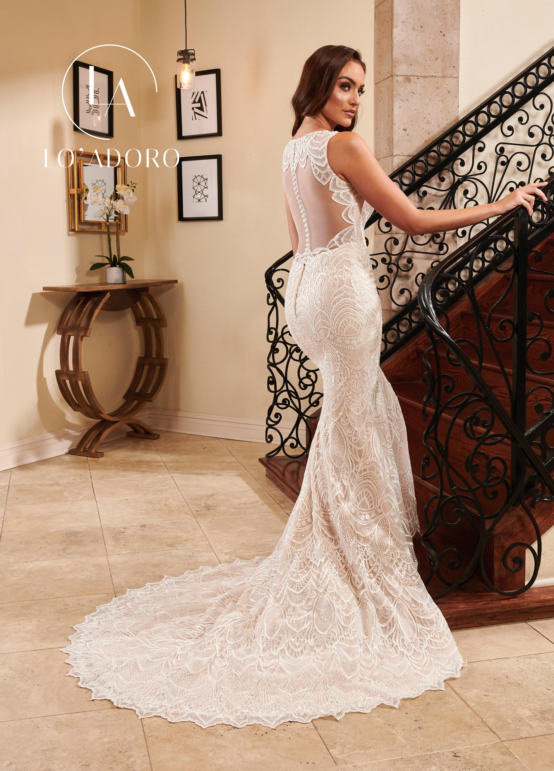 High Neckline Mermaid Lo' Adoro Bridal in White Color