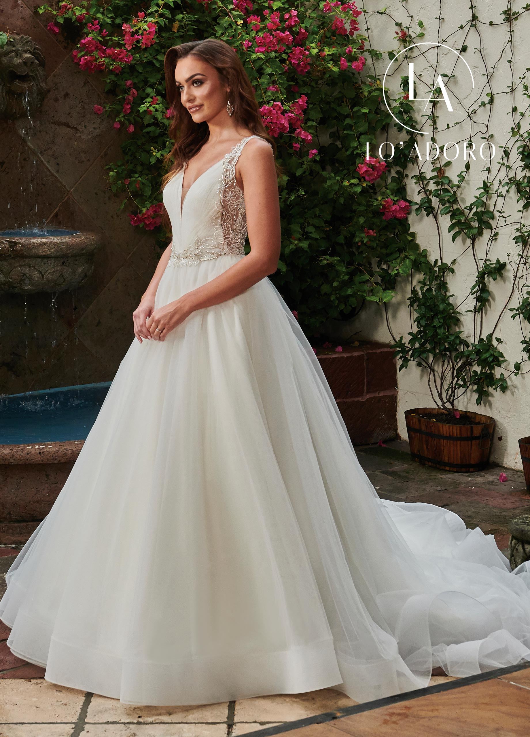 V-Neck Ball Gowns Lo' Adoro Bridal in White Color