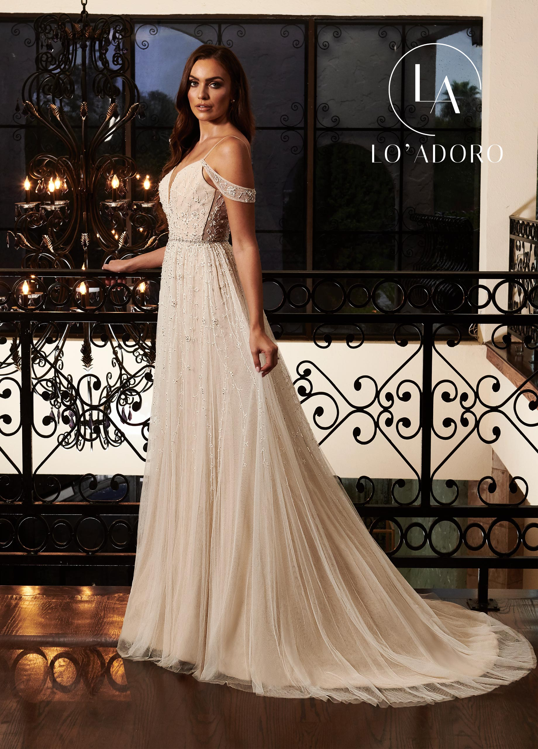 Open Shoulder A-Line Lo' Adoro Bridal in White Color
