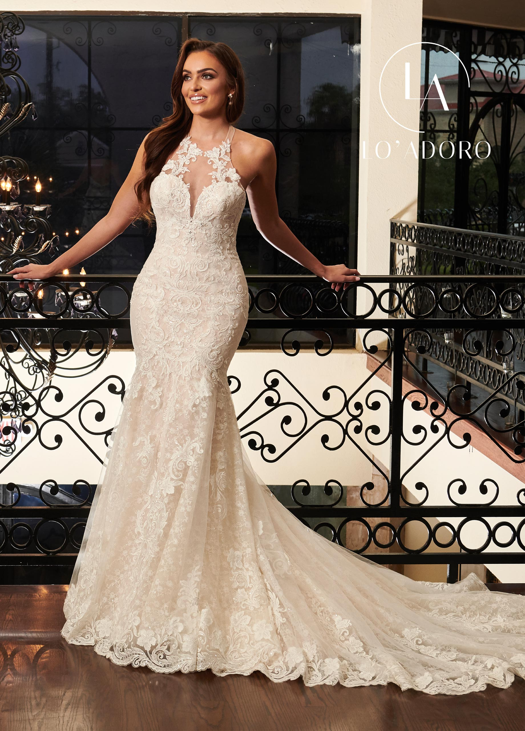 Halter Fit & Flare Lo' Adoro Bridal in White Color