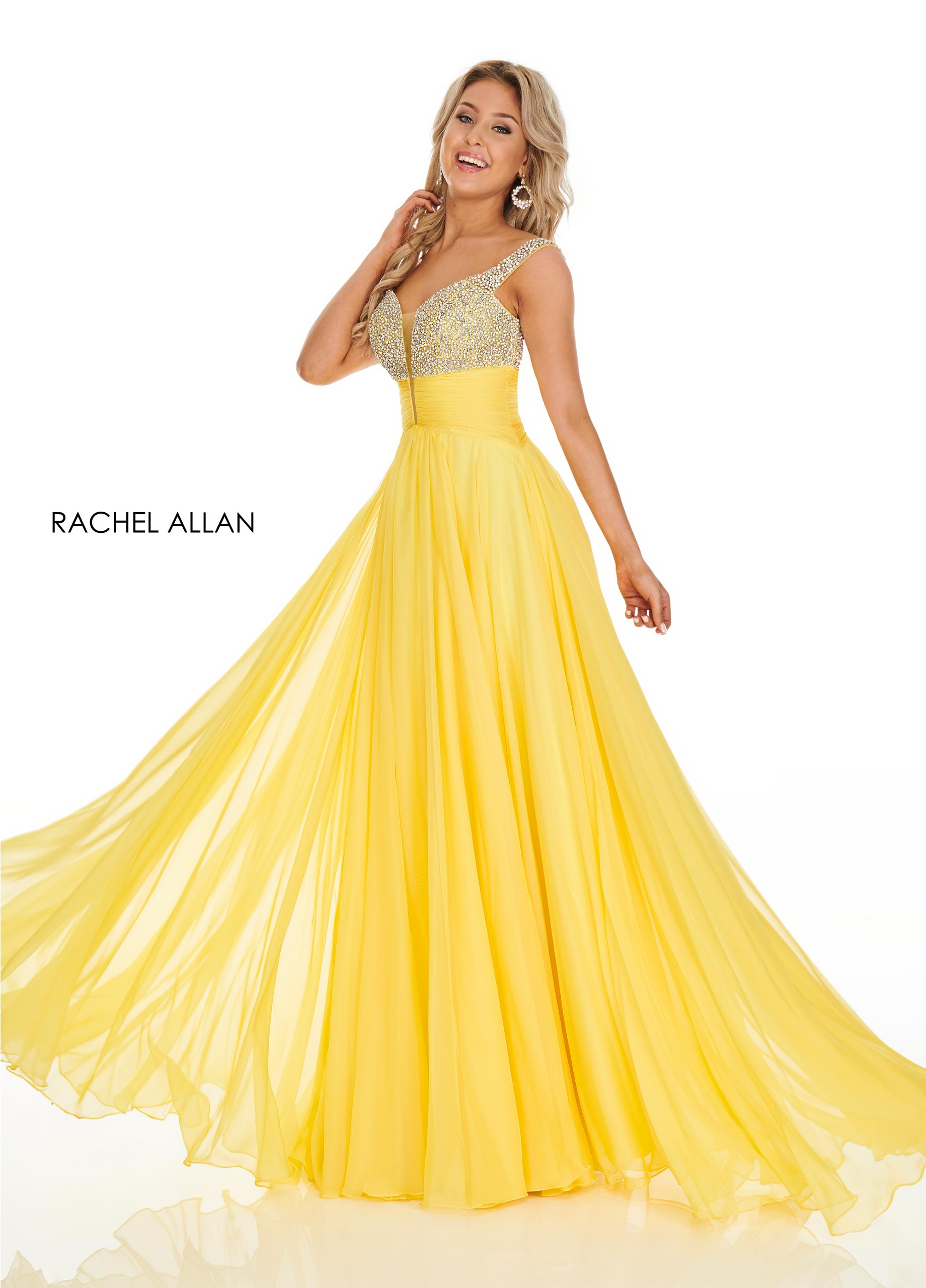 V-Neck A-Line Prom Dresses in Yellow Color
