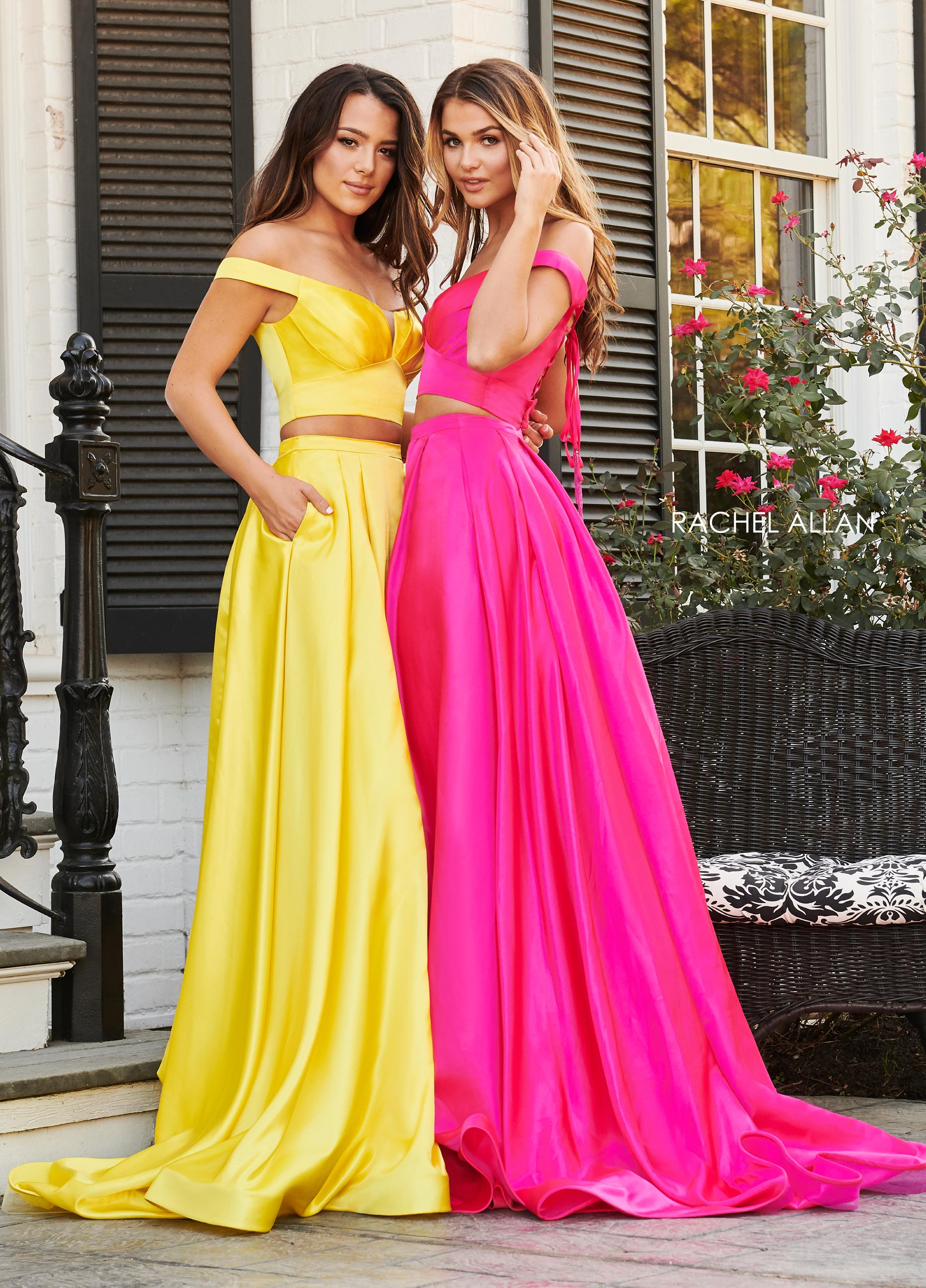 Off The Shoulder Two-Piece Prom Dresses in Yellow Color